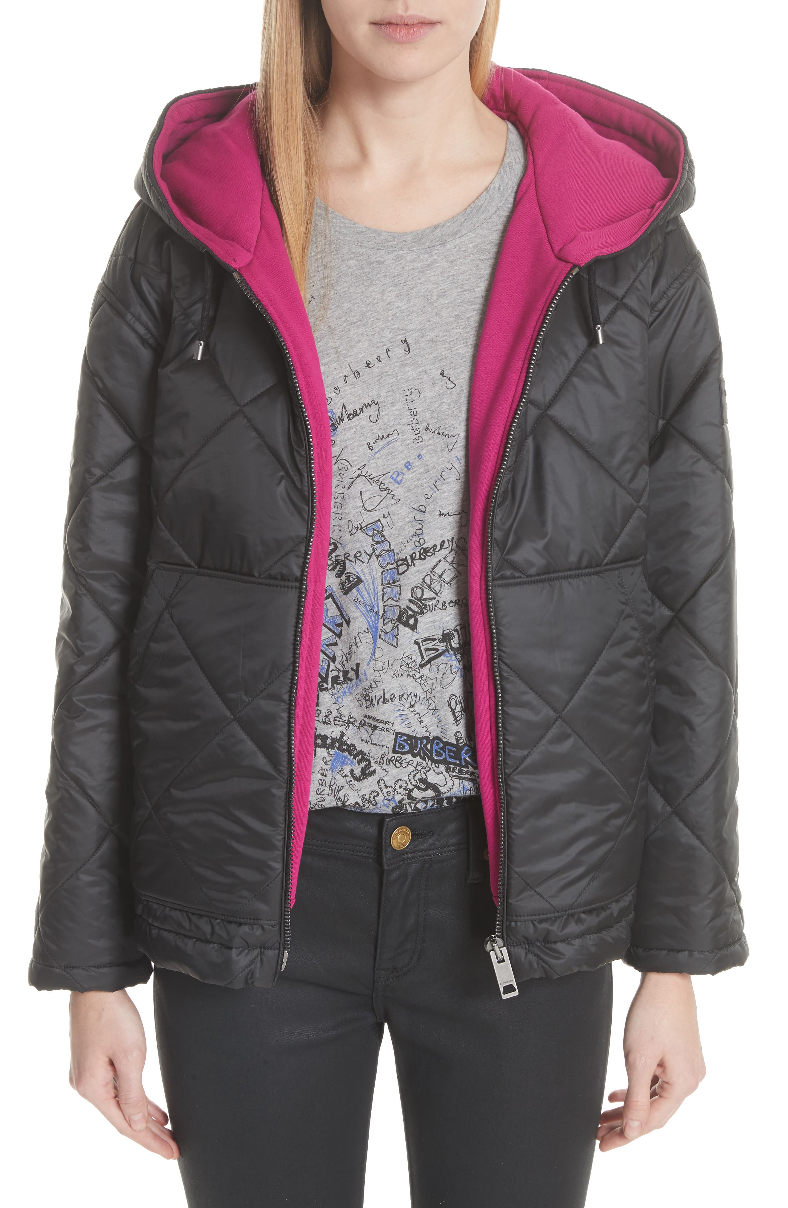 Tyneham Lined Quilted Jacket,                             Main thumbnail 1, color,                             Black
