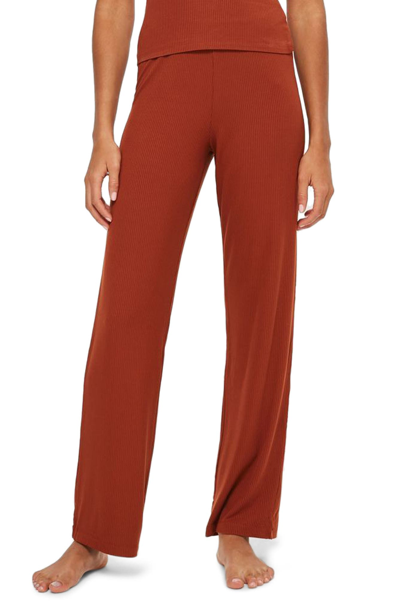 Ribbed Pajama Pants,                         Main,                         color, Rust