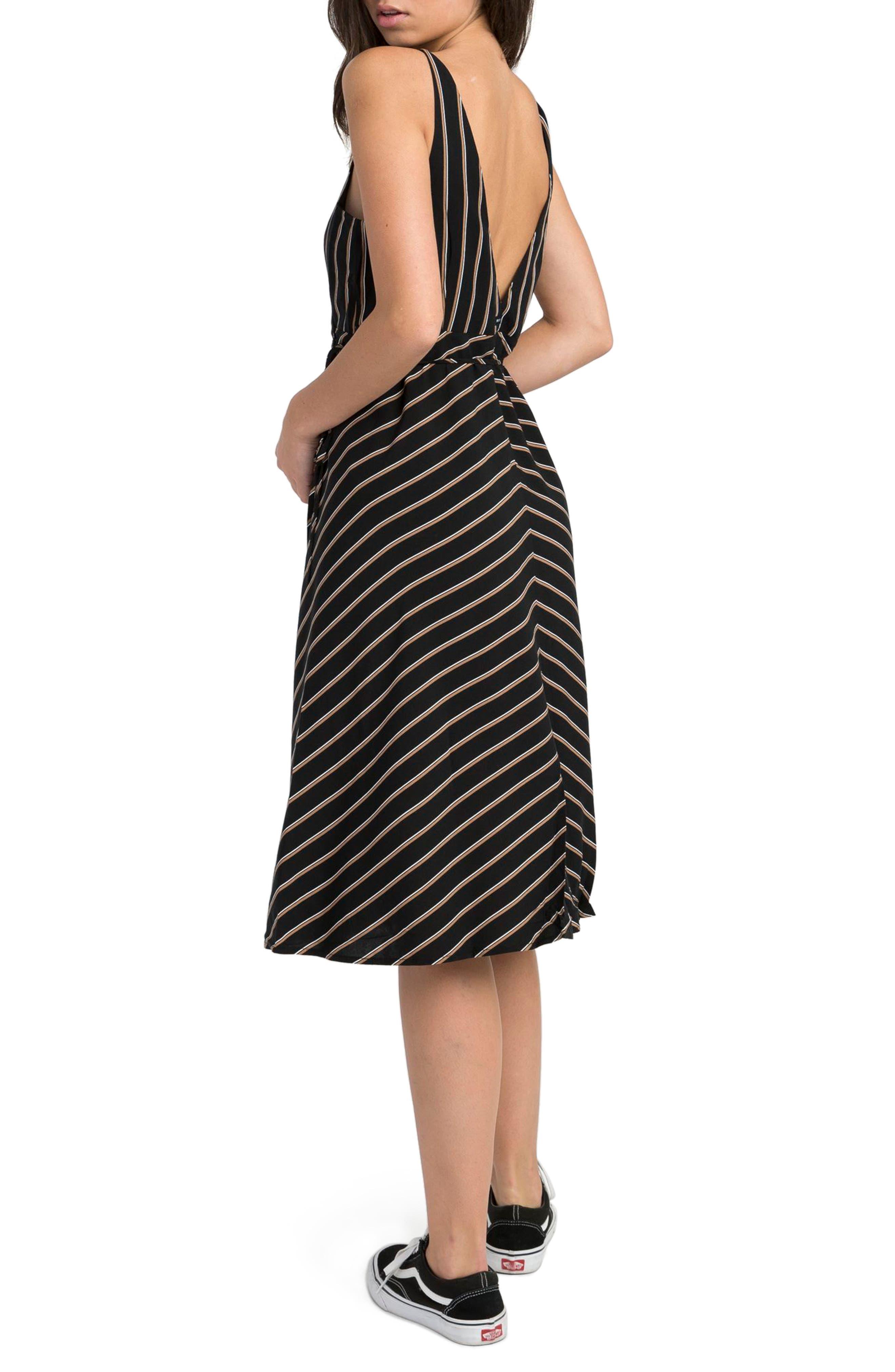 Dat Stripe Wrap Dress,                             Alternate thumbnail 4, color,                             Black