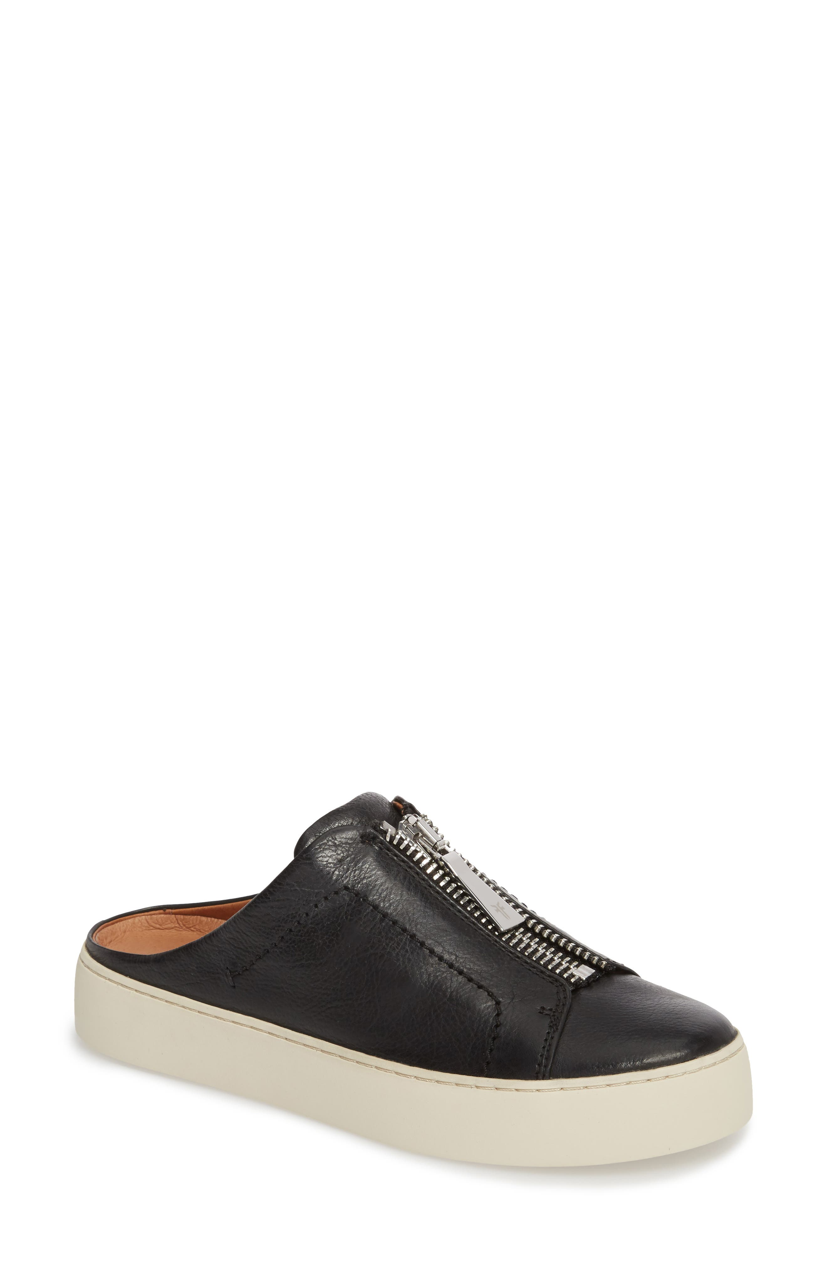 Lena Platform Sneaker Mule,                             Main thumbnail 1, color,                             Black Leather