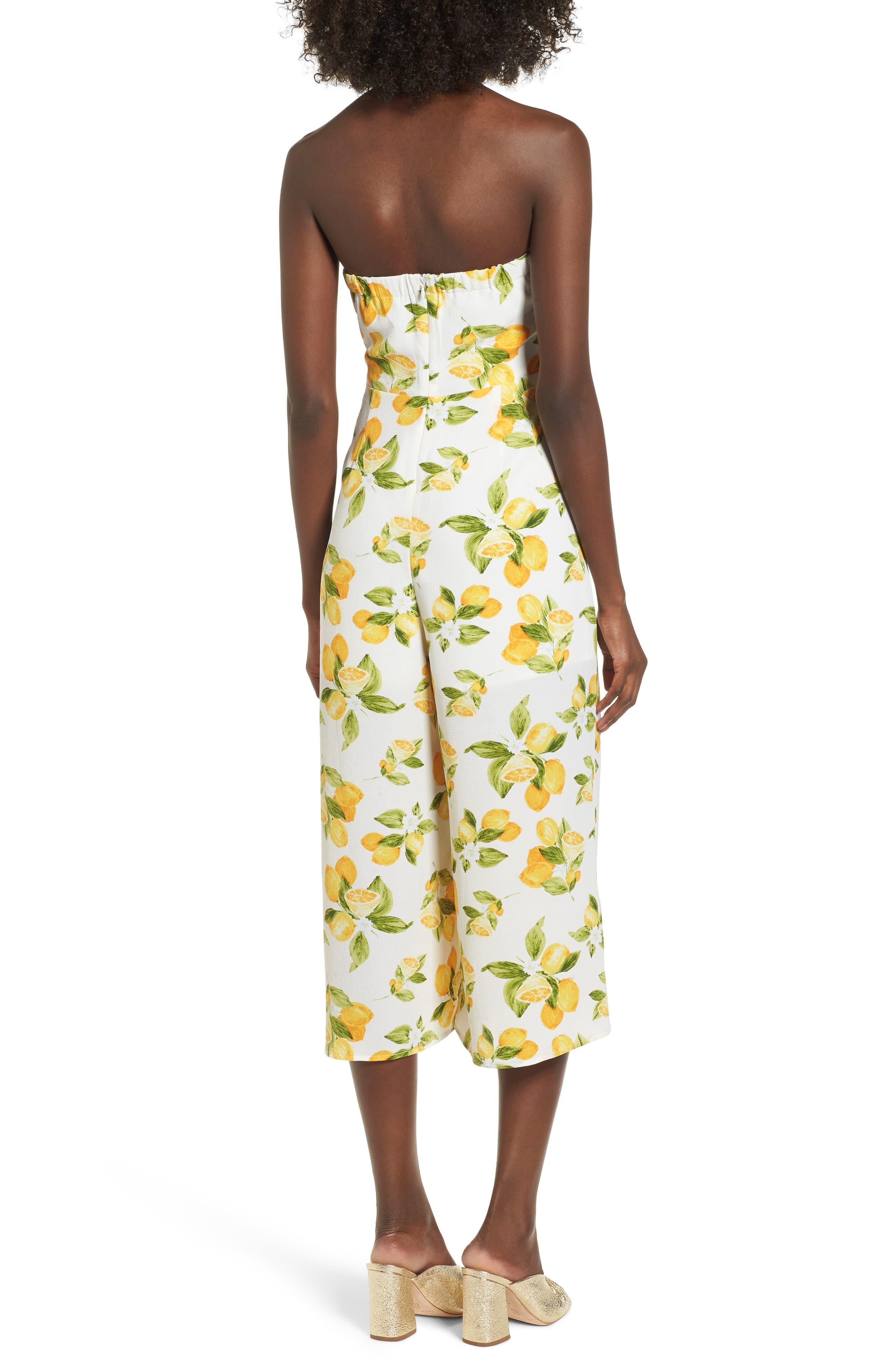 Strapless Tie Front Jumpsuit,                             Alternate thumbnail 2, color,                             Lemon Print
