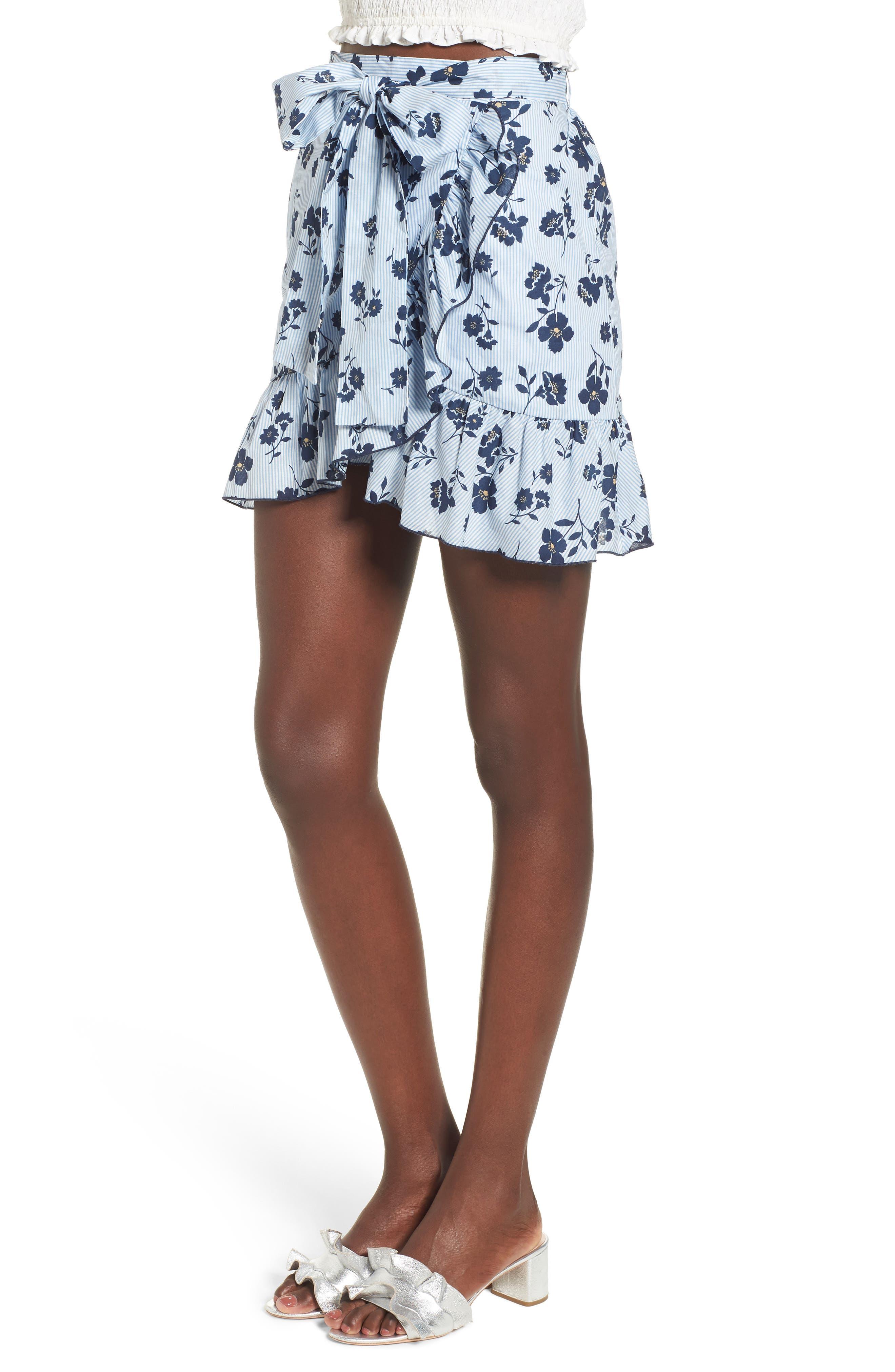 Floral Ruffle Wrap Skirt,                             Alternate thumbnail 4, color,                             Sky Stripe