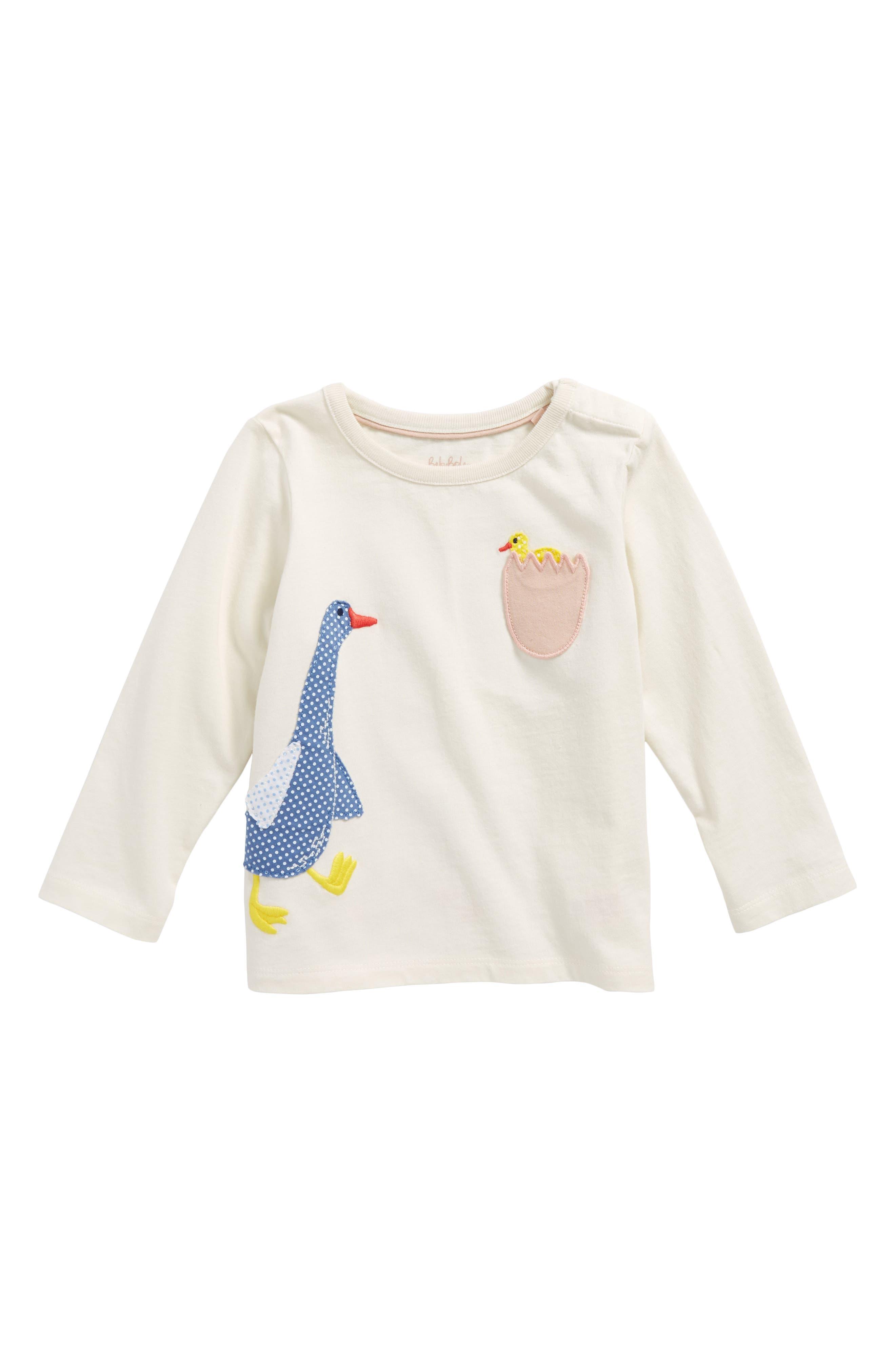Alternate Image 1 Selected - Mini Boden Animal Appliqué Tee (Baby Girls & Toddler Girls)