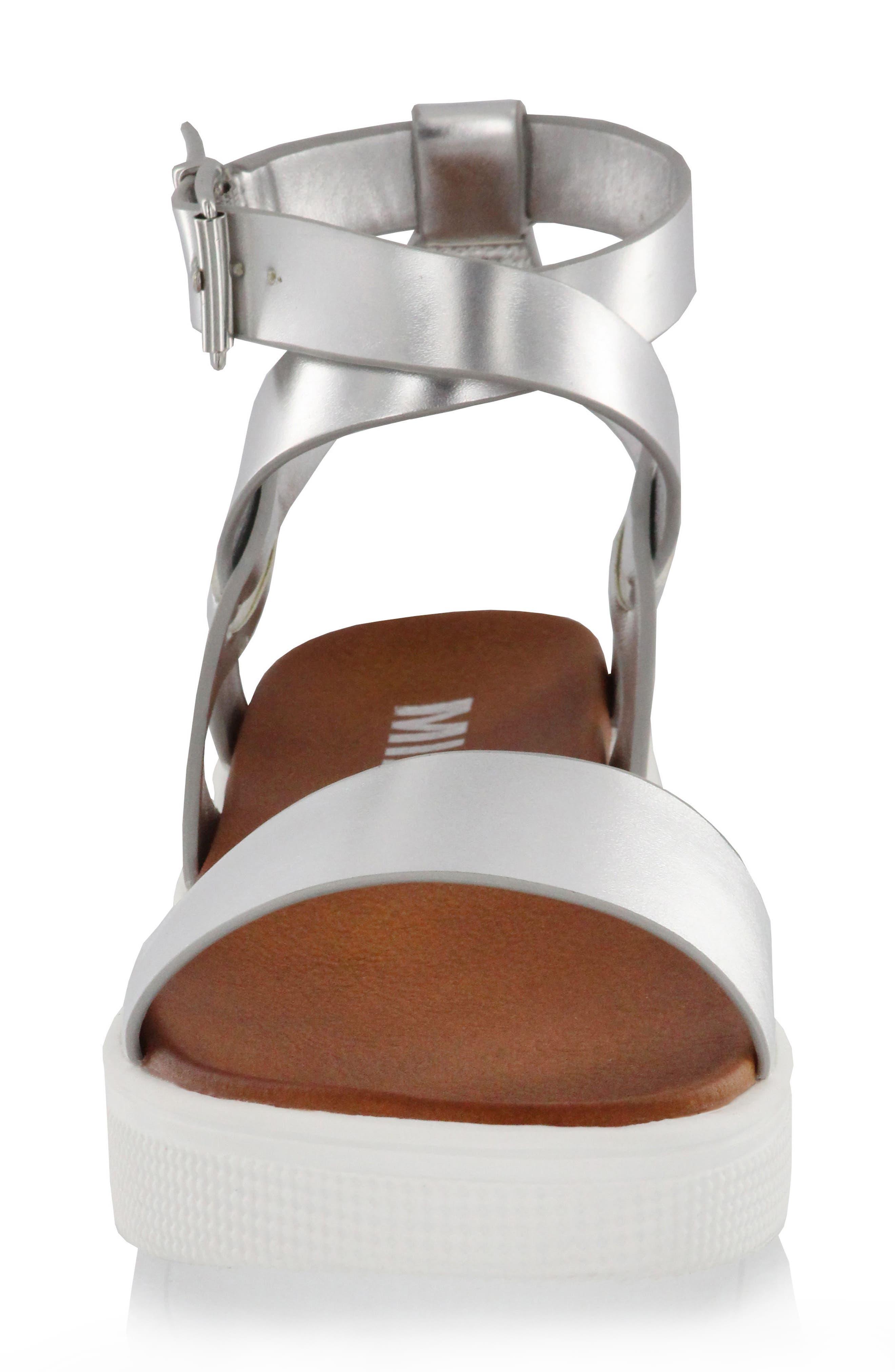 Calla Platform Sandal,                             Alternate thumbnail 4, color,                             Silver Faux Leather
