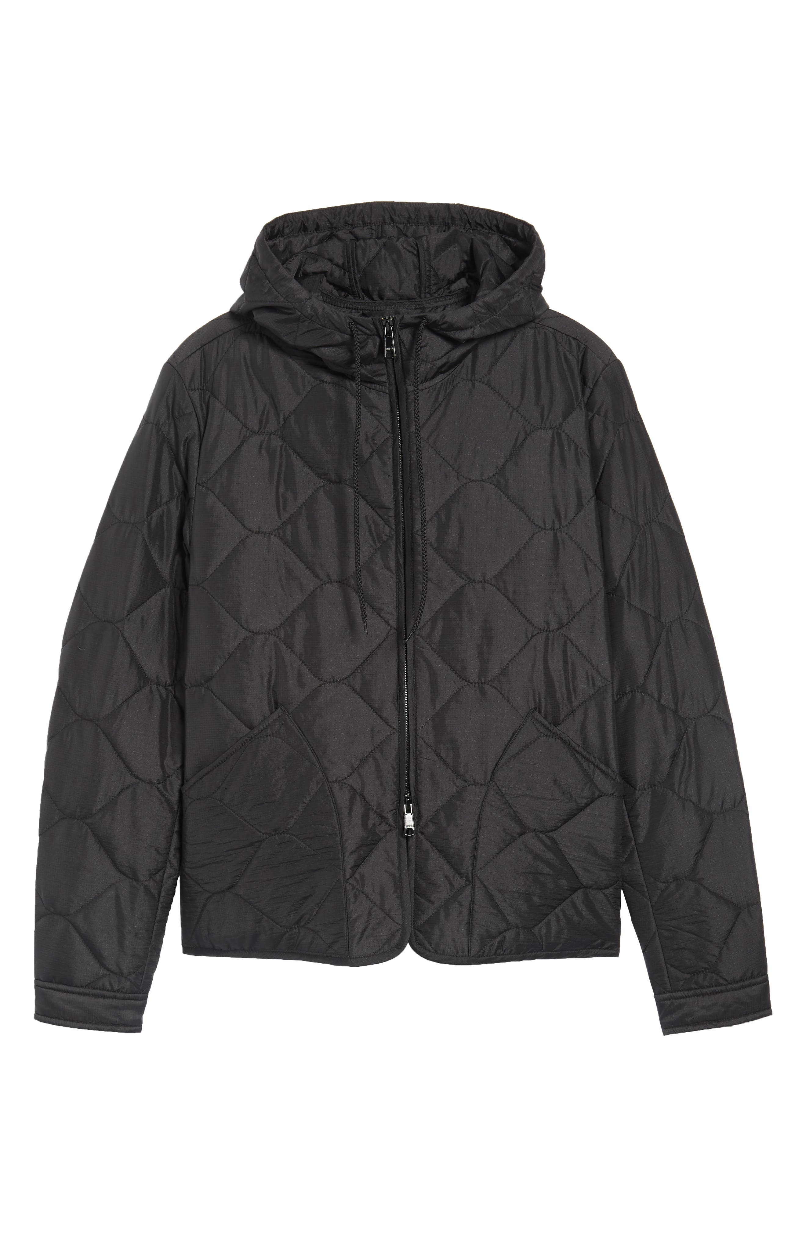 Quilted Slim Fit Hooded Jacket,                             Alternate thumbnail 6, color,                             Black