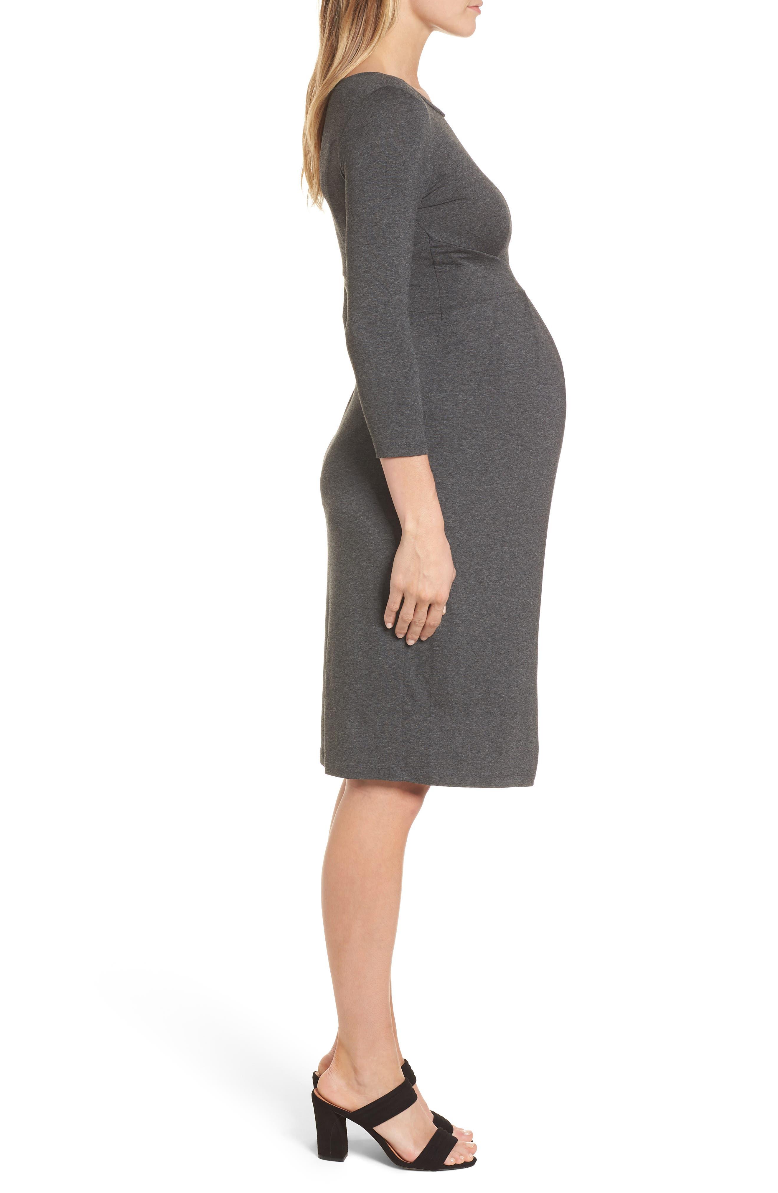 Ivybridge Jersey Maternity Dress,                             Alternate thumbnail 3, color,                             Dark Grey Marl