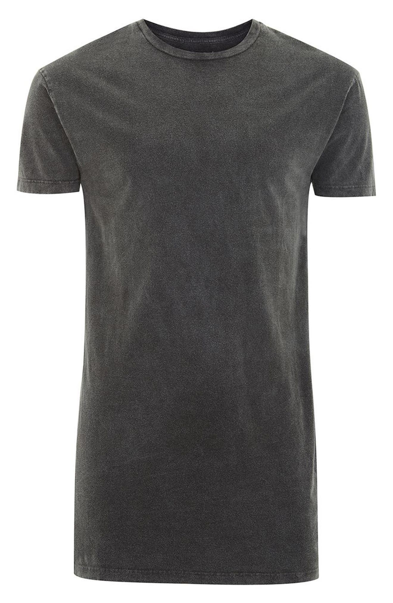 Muscle Fit Longline Tee,                             Alternate thumbnail 4, color,                             Grey
