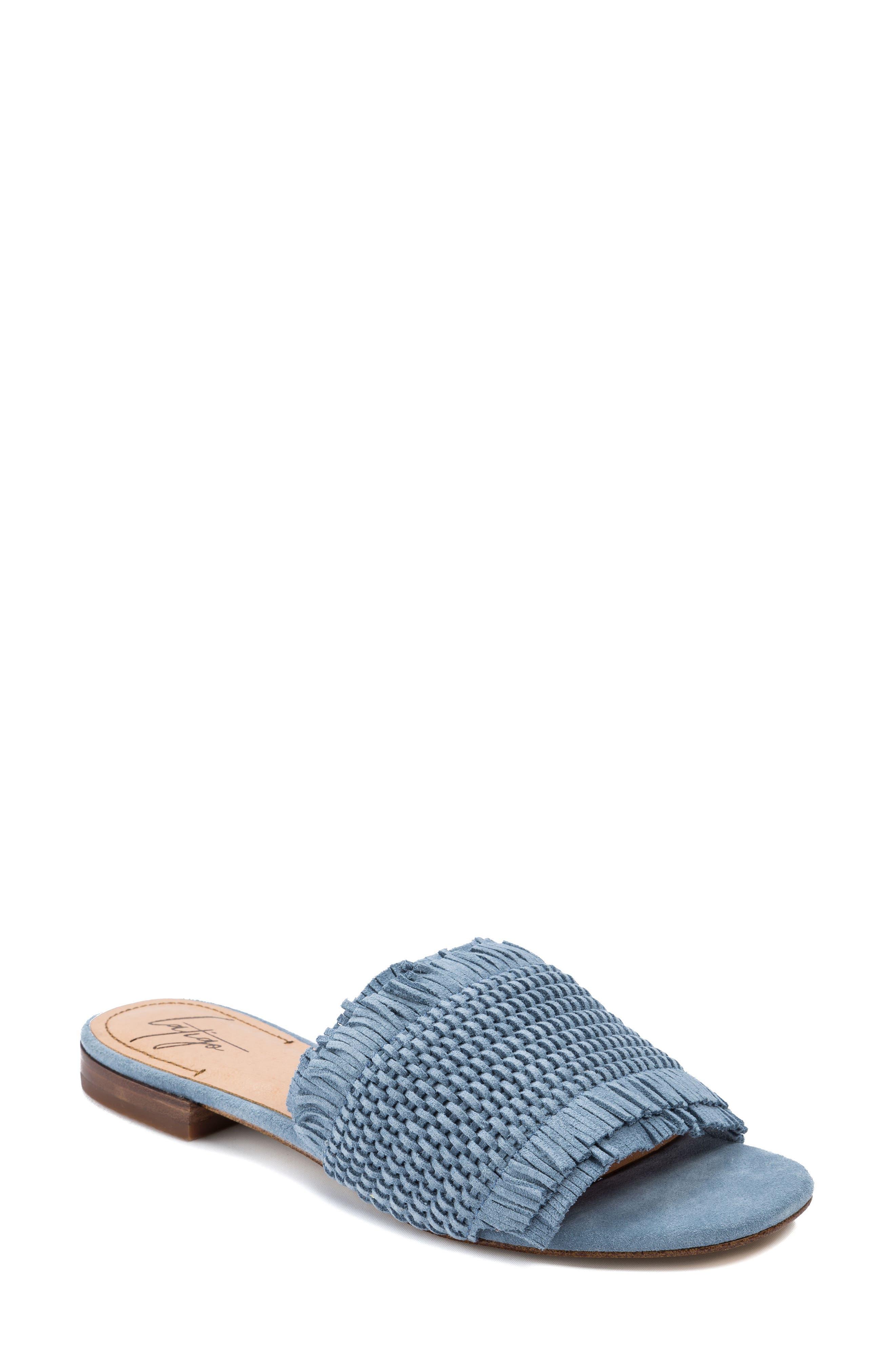 Sofie Fringed Slide Sandal,                         Main,                         color, Light Blue