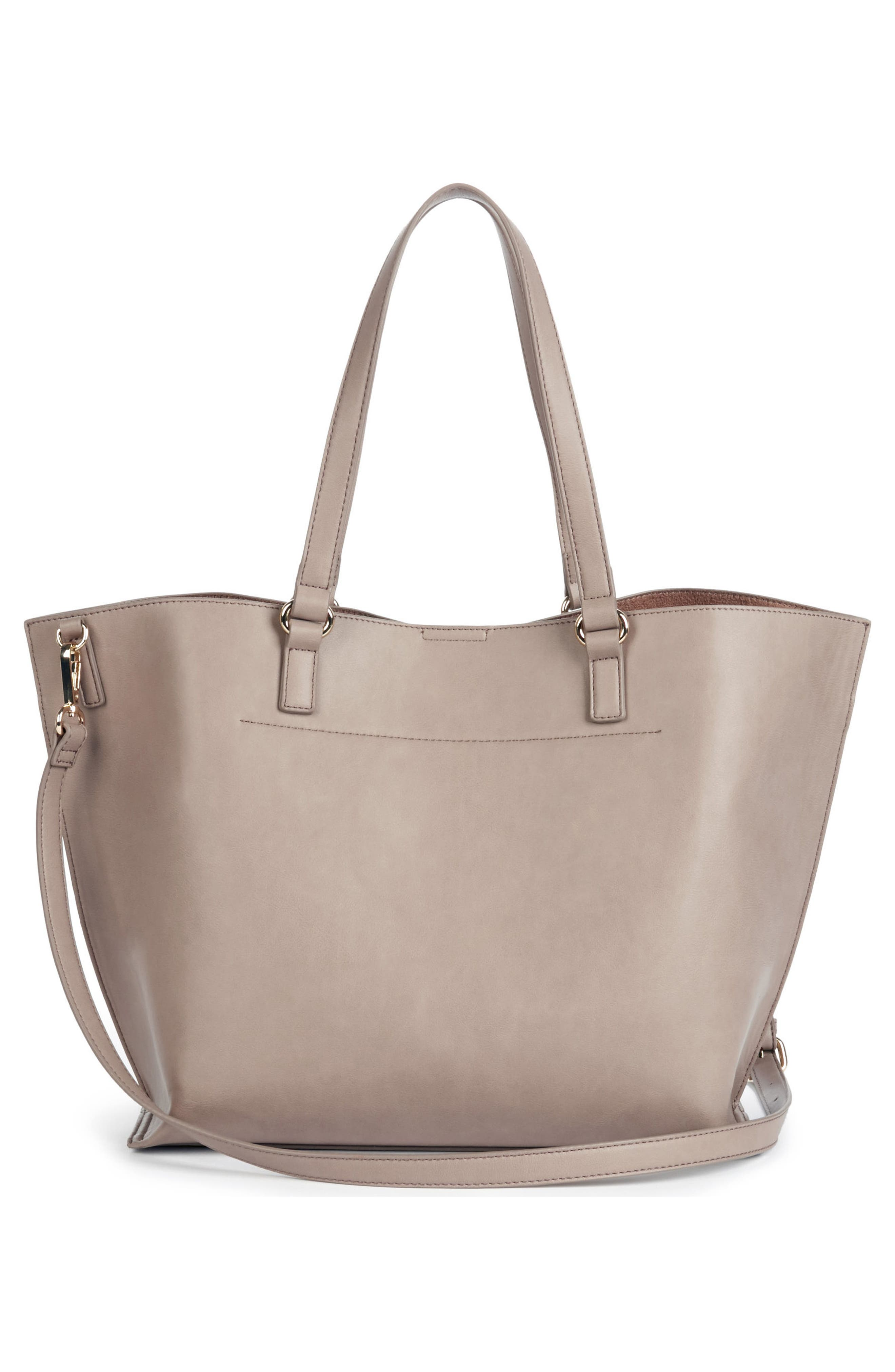 Adelina Ruffled Faux Leather Tote,                             Alternate thumbnail 3, color,                             Taupe