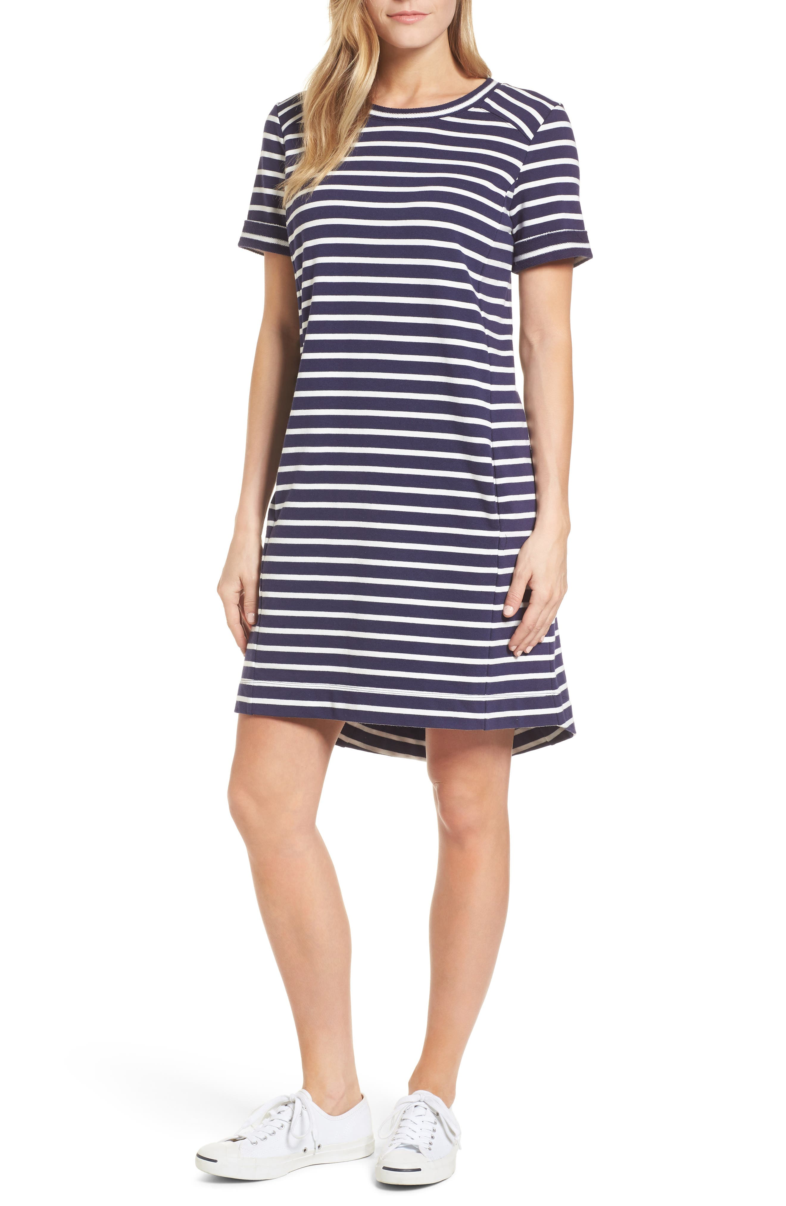 Short Sleeve Cotton Blend Dress,                             Main thumbnail 1, color,                             Navy- Ivory