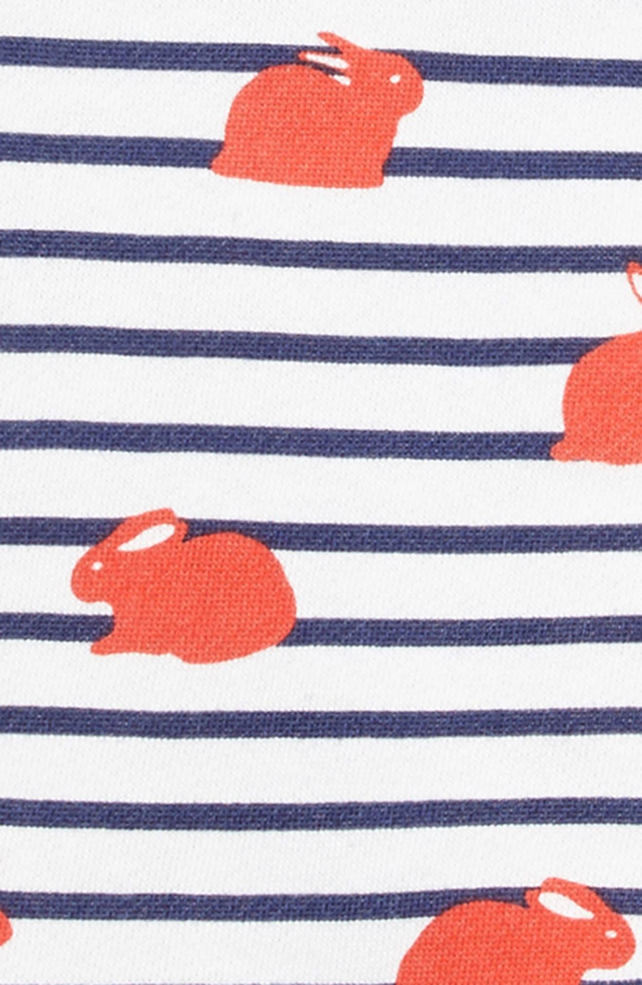 Fun Breton Stripe Dress,                             Alternate thumbnail 3, color,                             Melon Crush/ Orange Bunny