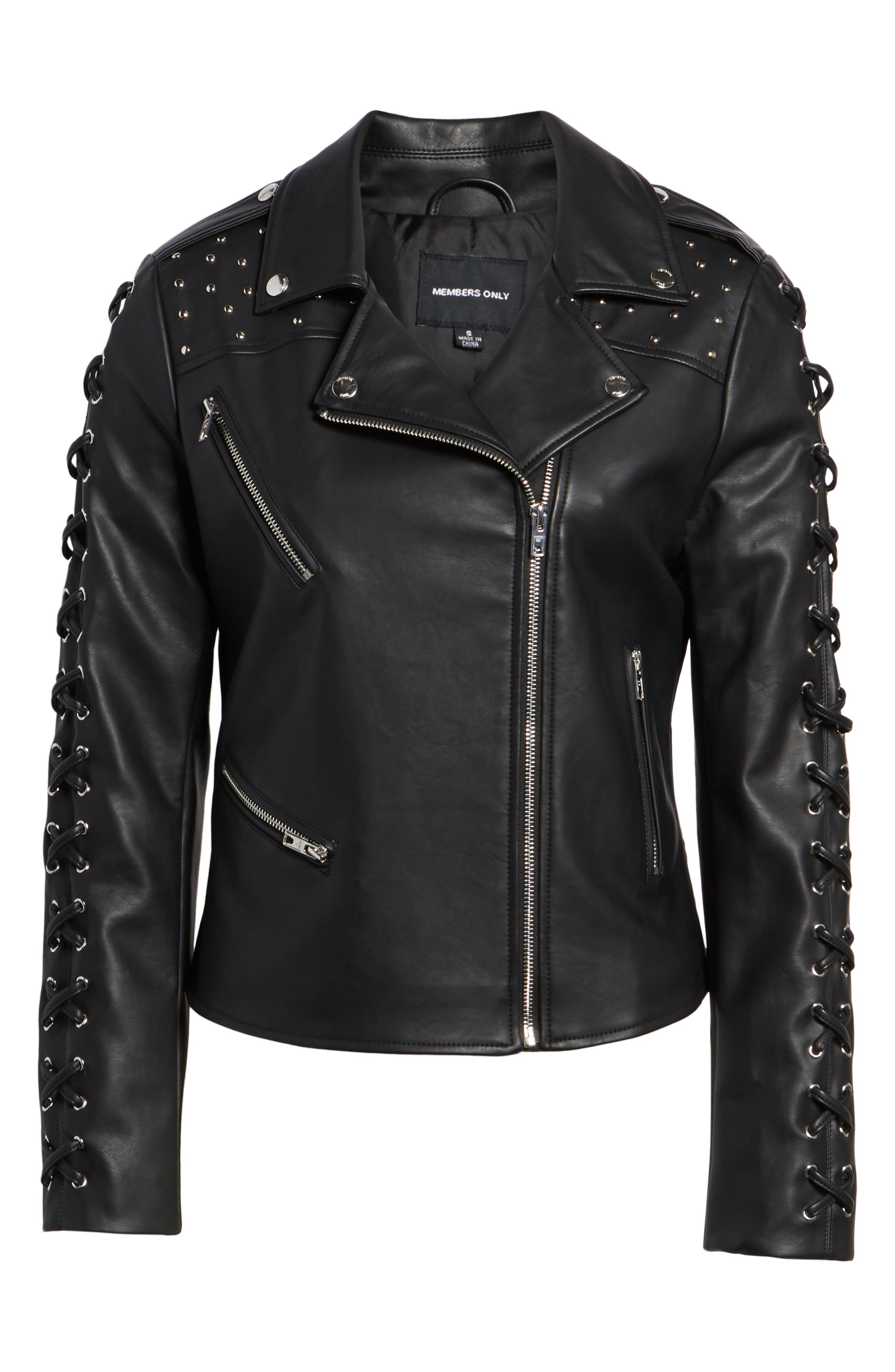 Faux Leather Biker Jacket,                             Alternate thumbnail 7, color,                             Black