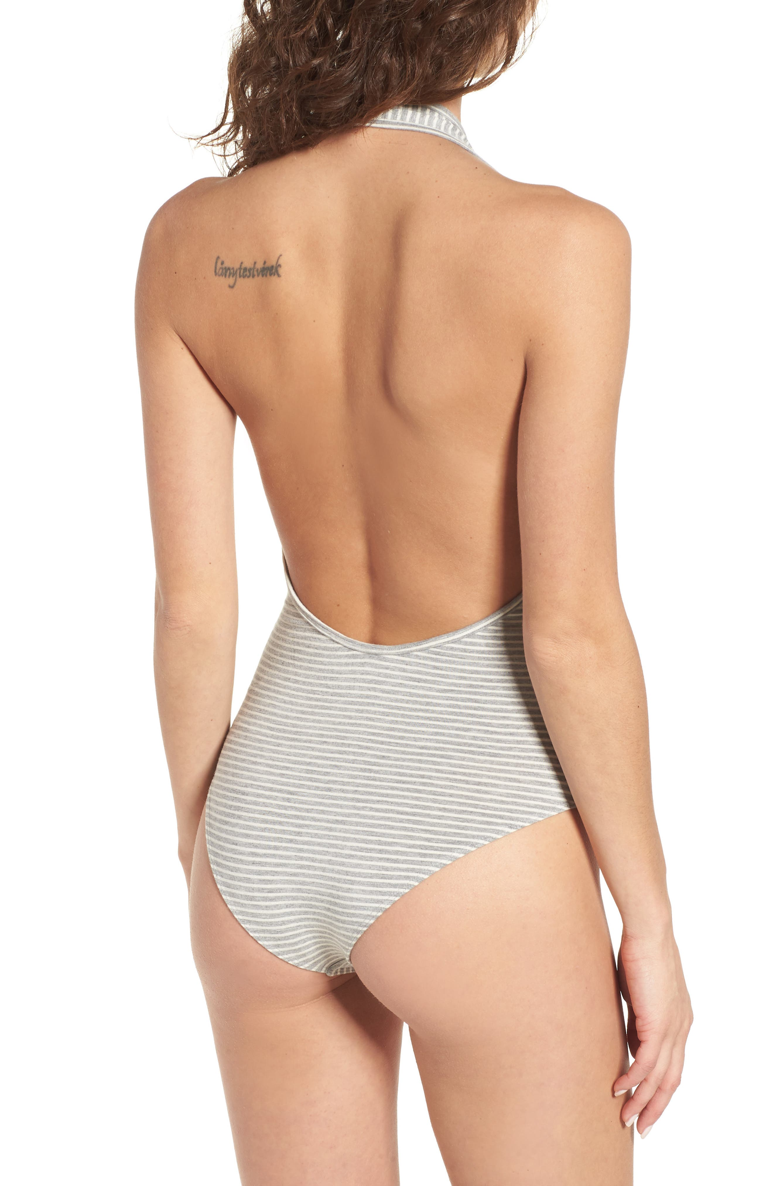 Luna Stripe Bodysuit,                             Alternate thumbnail 3, color,                             Heather Grey Multi