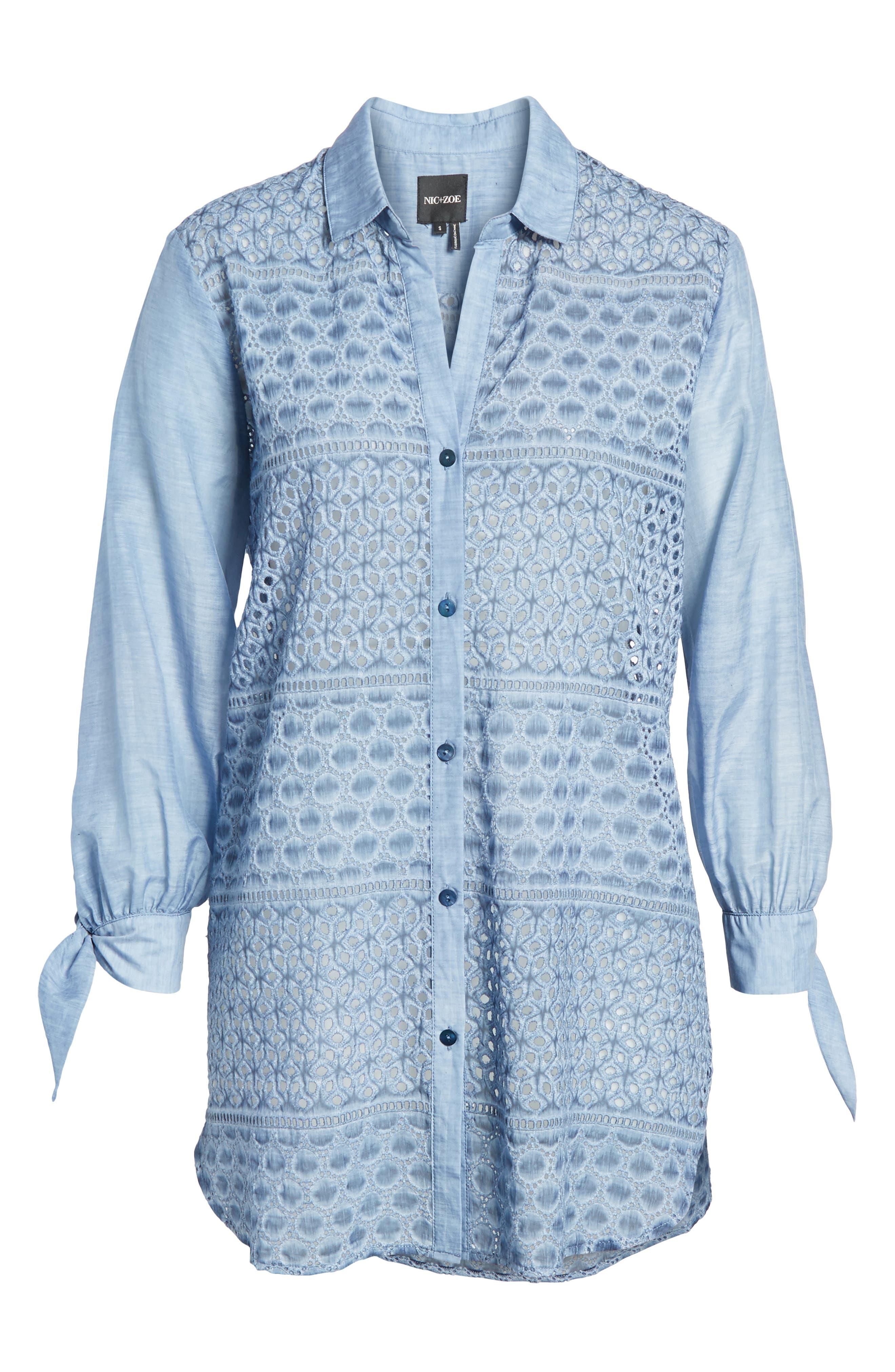 Mosaic Lace Cotton Silk Blouse,                             Alternate thumbnail 6, color,                             Mosaic Blue