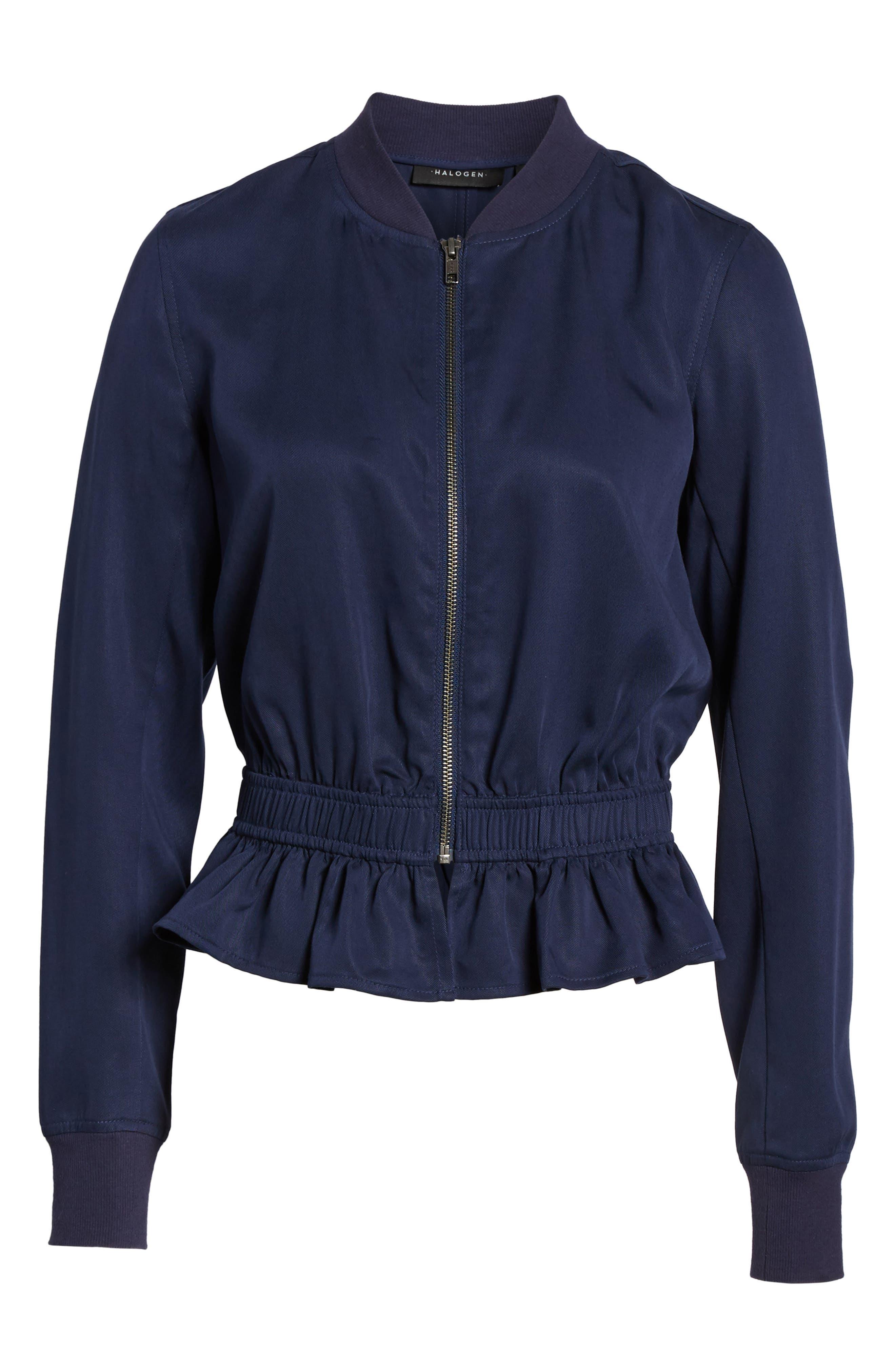 Ruffle Hem Zip Front Jacket,                             Alternate thumbnail 6, color,                             Navy Peacoat