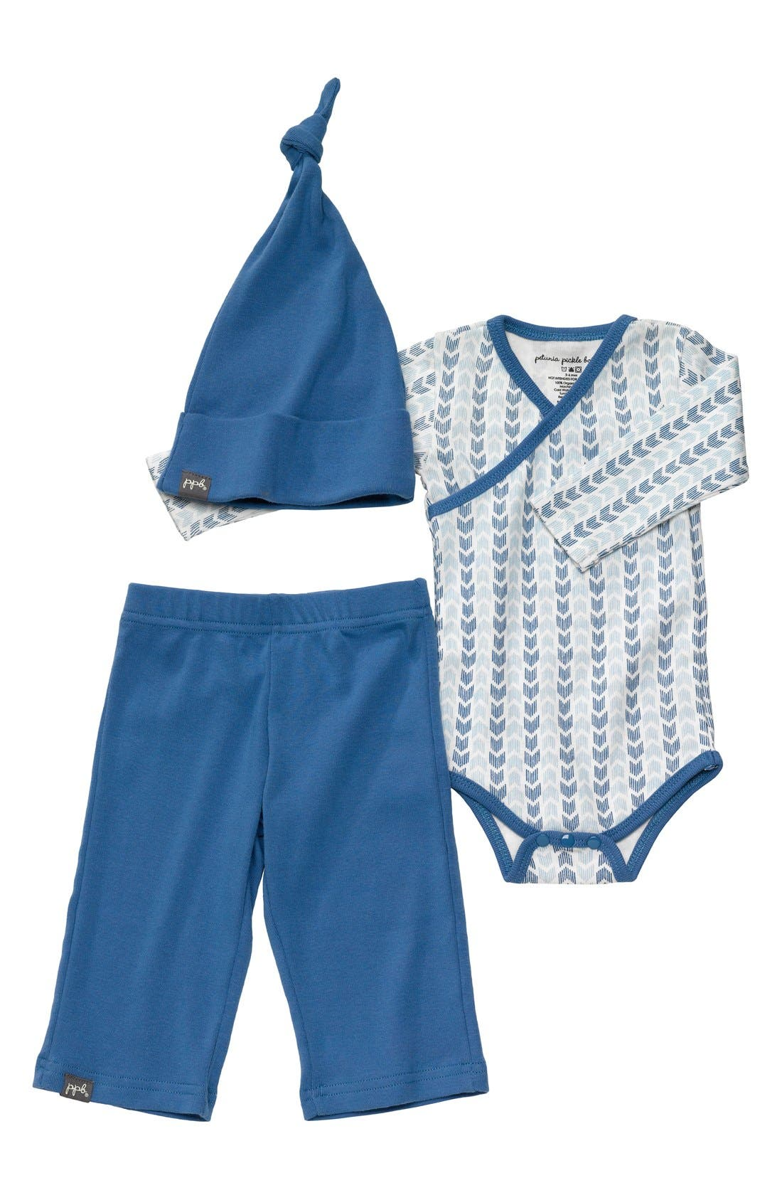 Alternate Image 1 Selected - Petunia Pickle Bottom 'Social' Hat, Bodysuit & Pants Set (Baby)