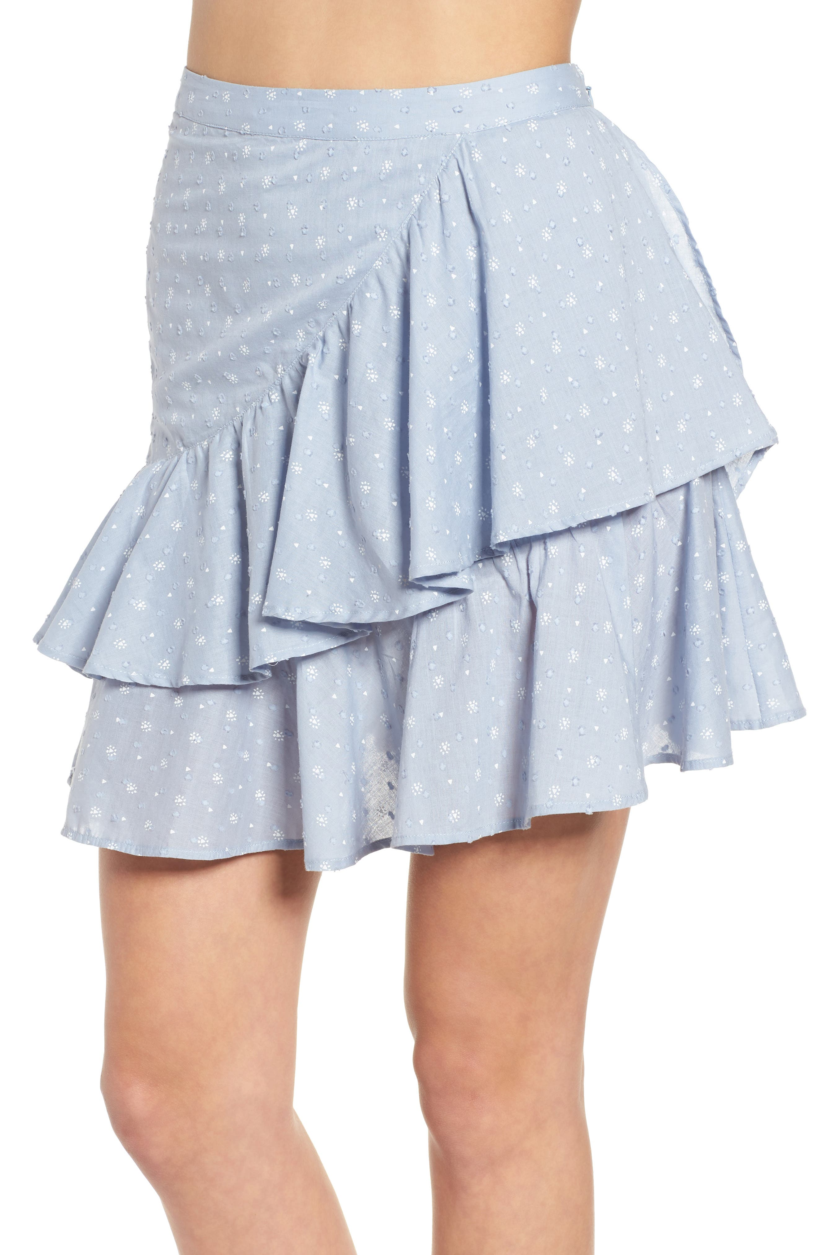 Mara Ruffled Miniskirt,                             Alternate thumbnail 5, color,                             Sail Blue