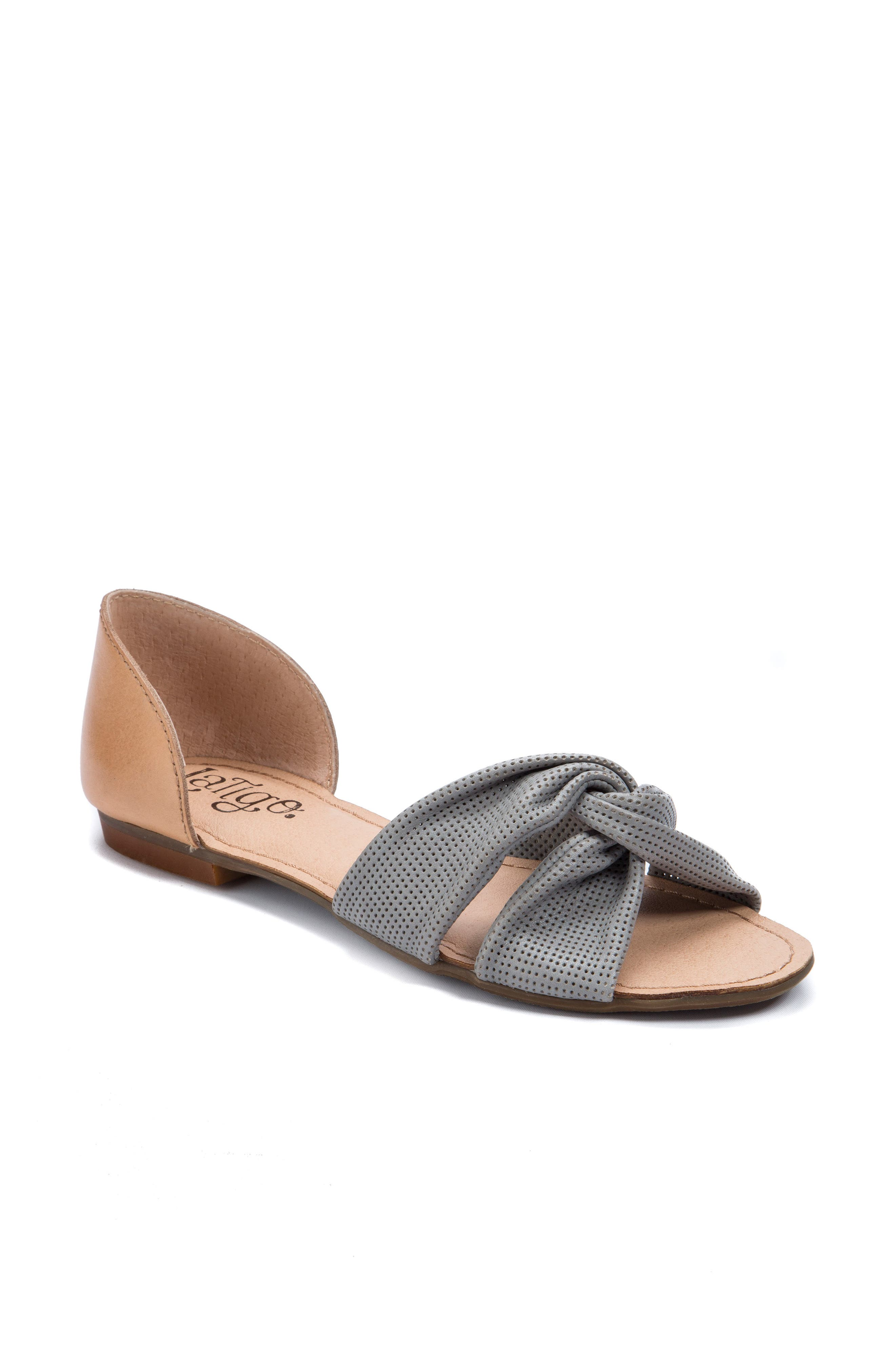 Darcy Perforated Flat Sandal,                         Main,                         color, Mist Grey Leather