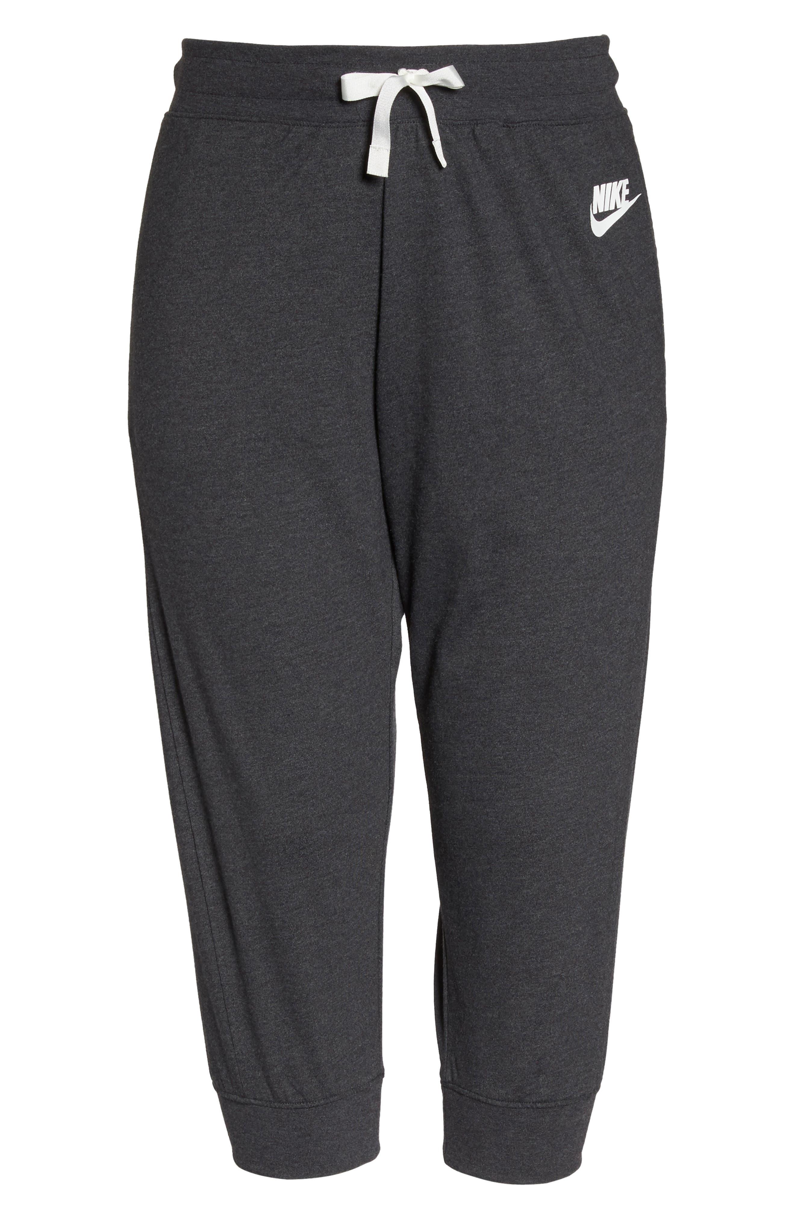 Sportswear Gym Capris,                             Alternate thumbnail 6, color,                             Black Heather/ Sail