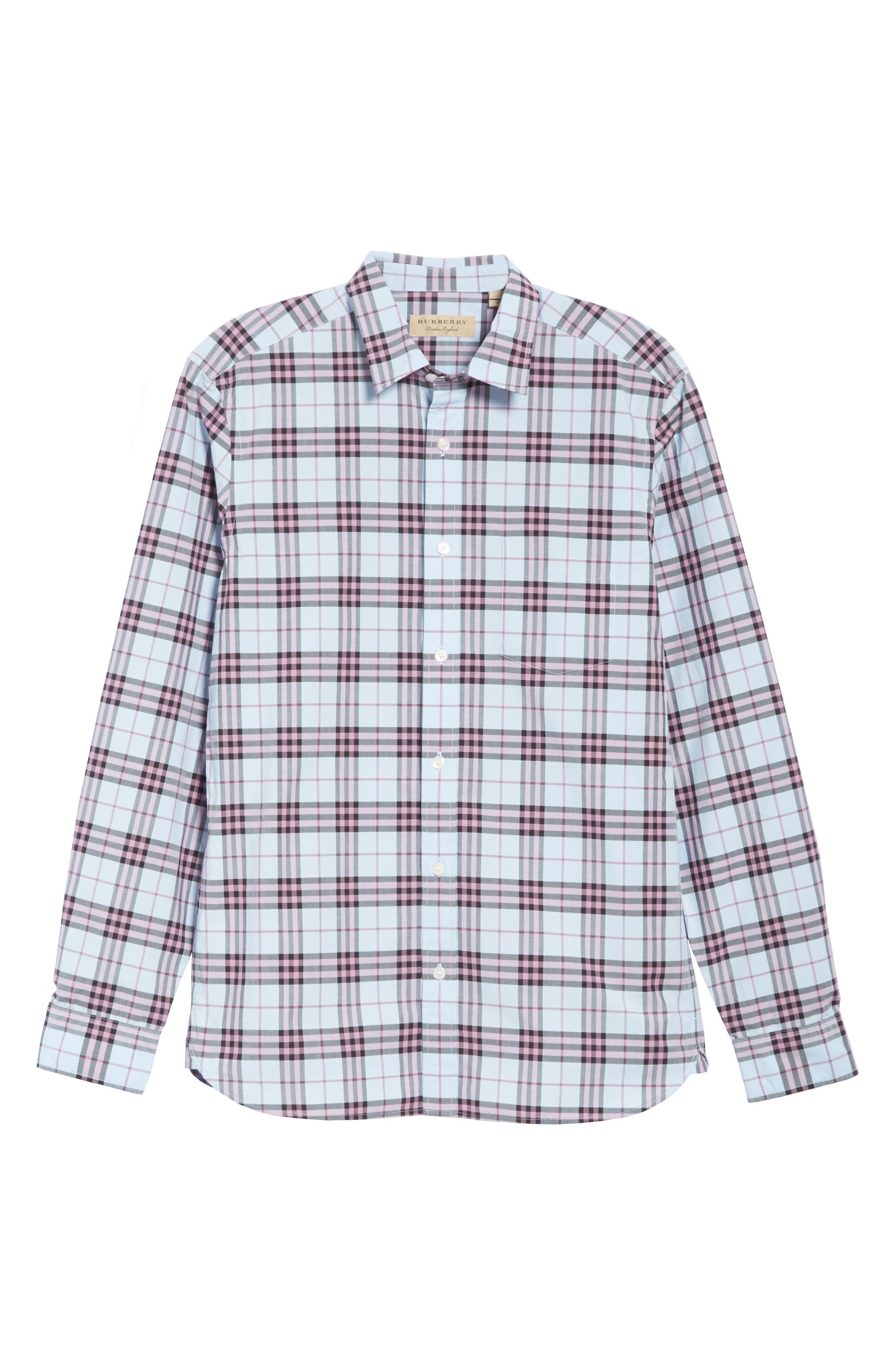 Alexander Standard Fit Check Sport Shirt,                             Alternate thumbnail 6, color,                             Lavender Blue