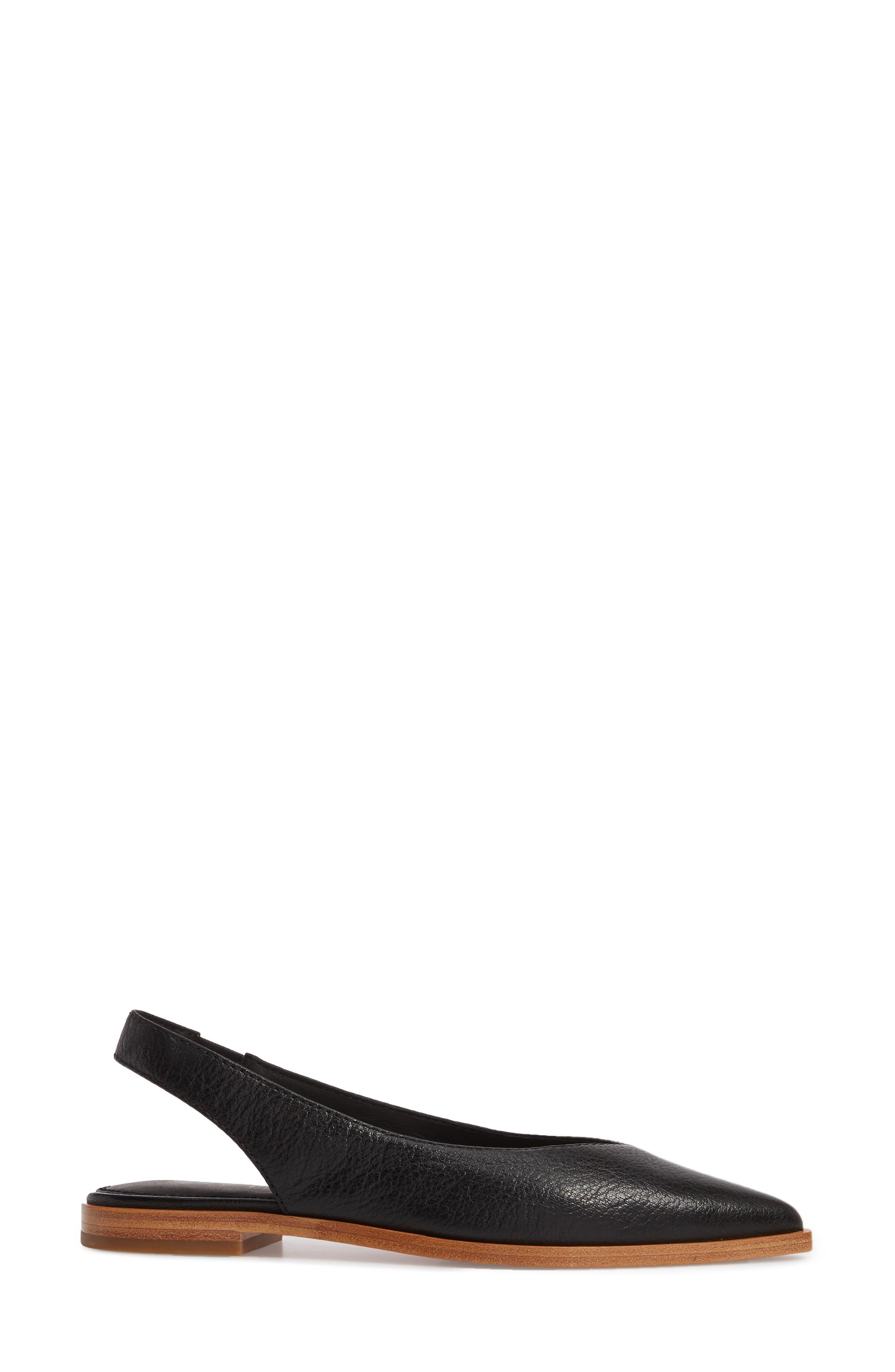 Kenzie Slingback Flat,                             Alternate thumbnail 3, color,                             Black Leather