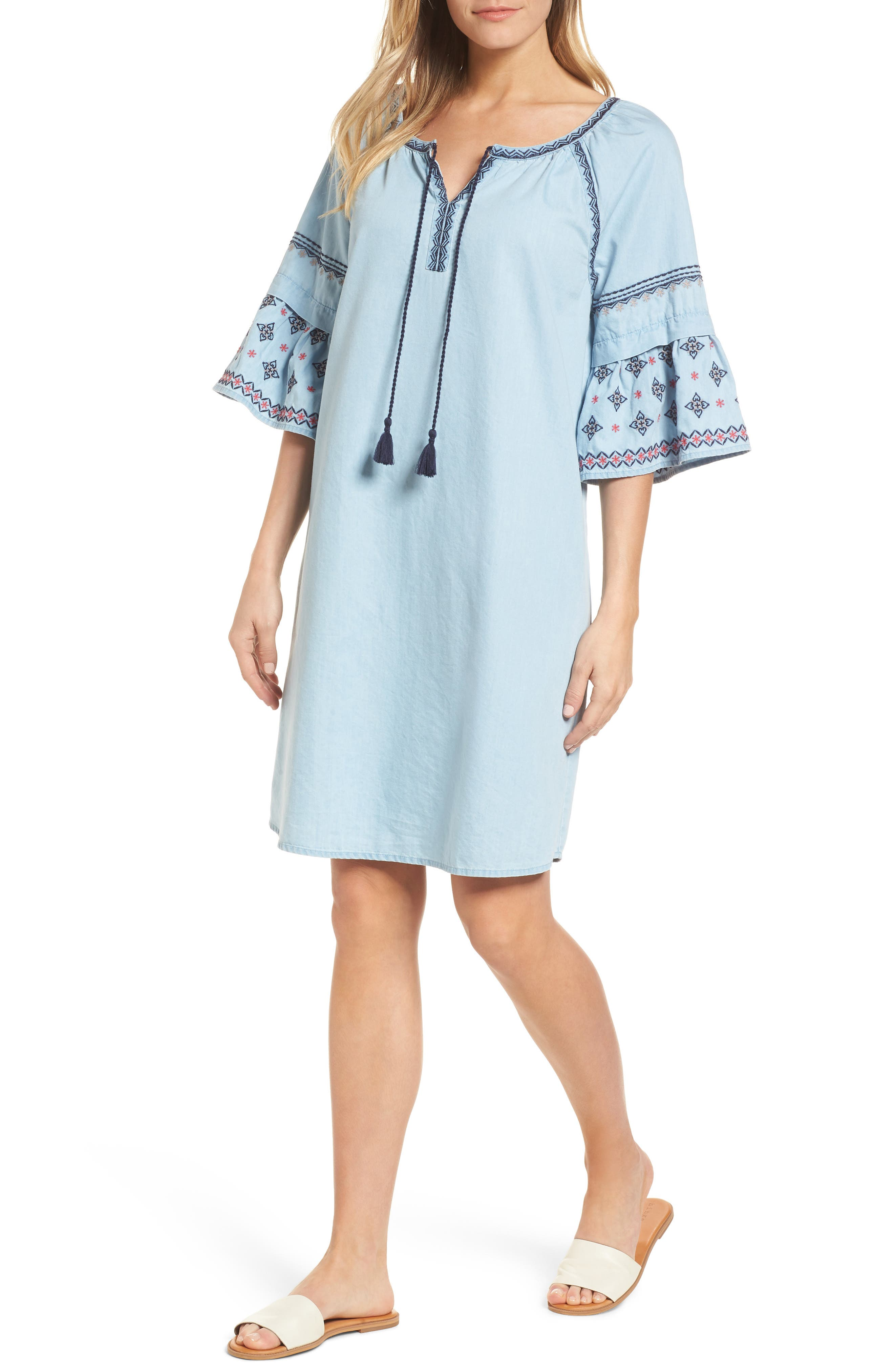 Embroidered Chambray Shift,                             Main thumbnail 1, color,                             Spectrum Wash