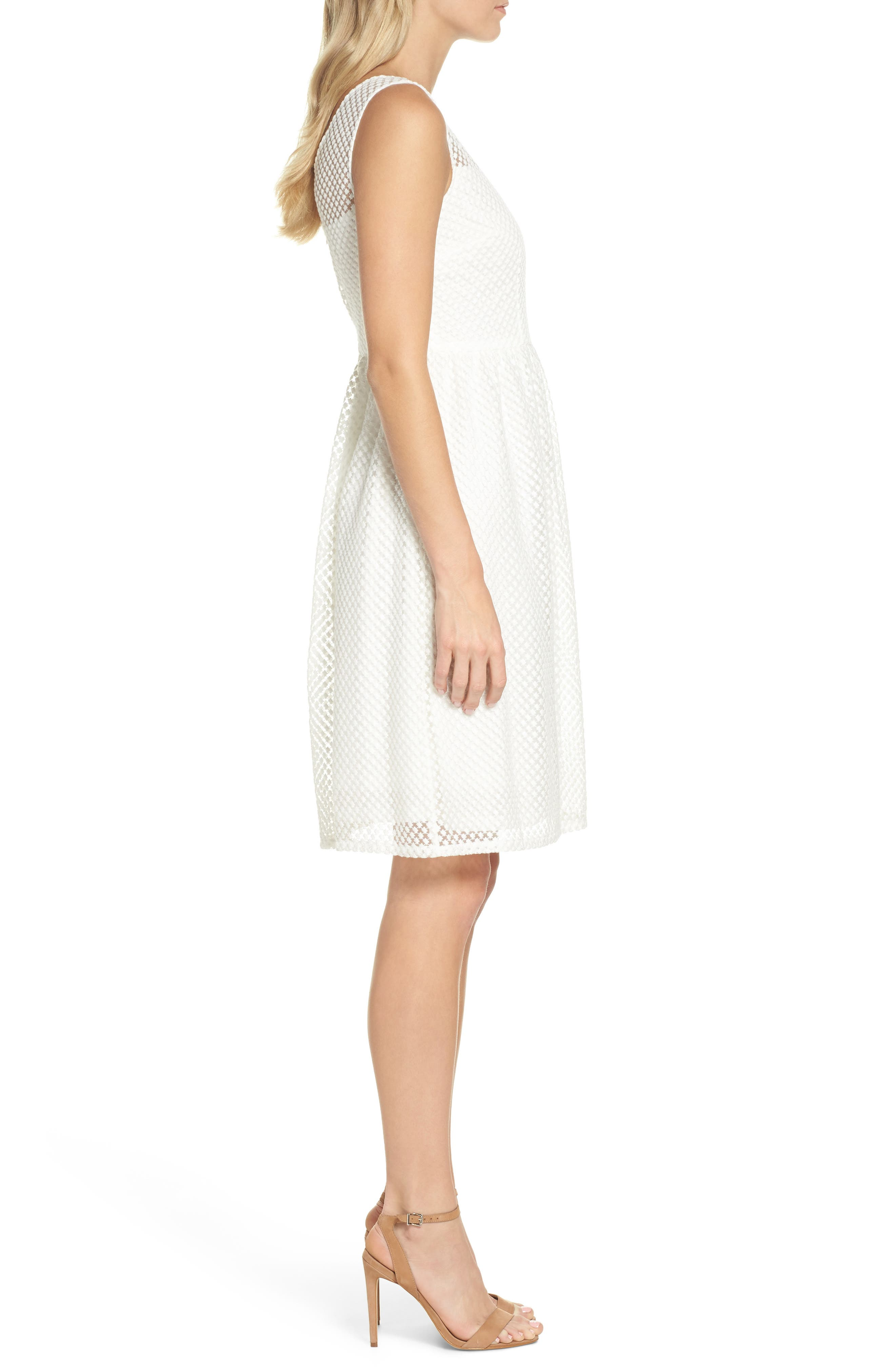 Embroidered Diamonds Fit & Flare Dress,                             Alternate thumbnail 3, color,                             Ivory