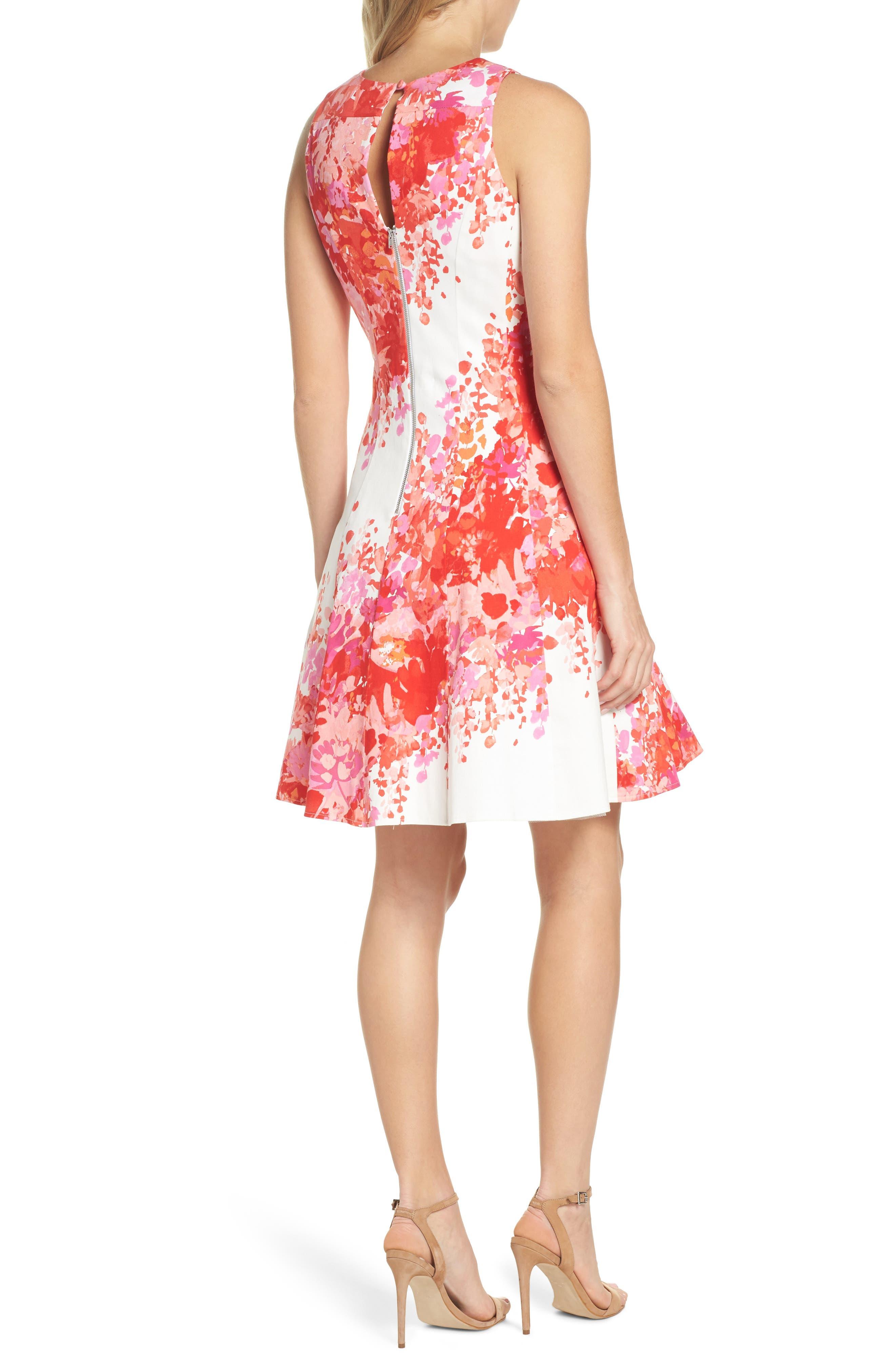 Fit & Flare Dress,                             Alternate thumbnail 2, color,                             Soft White/ Orange