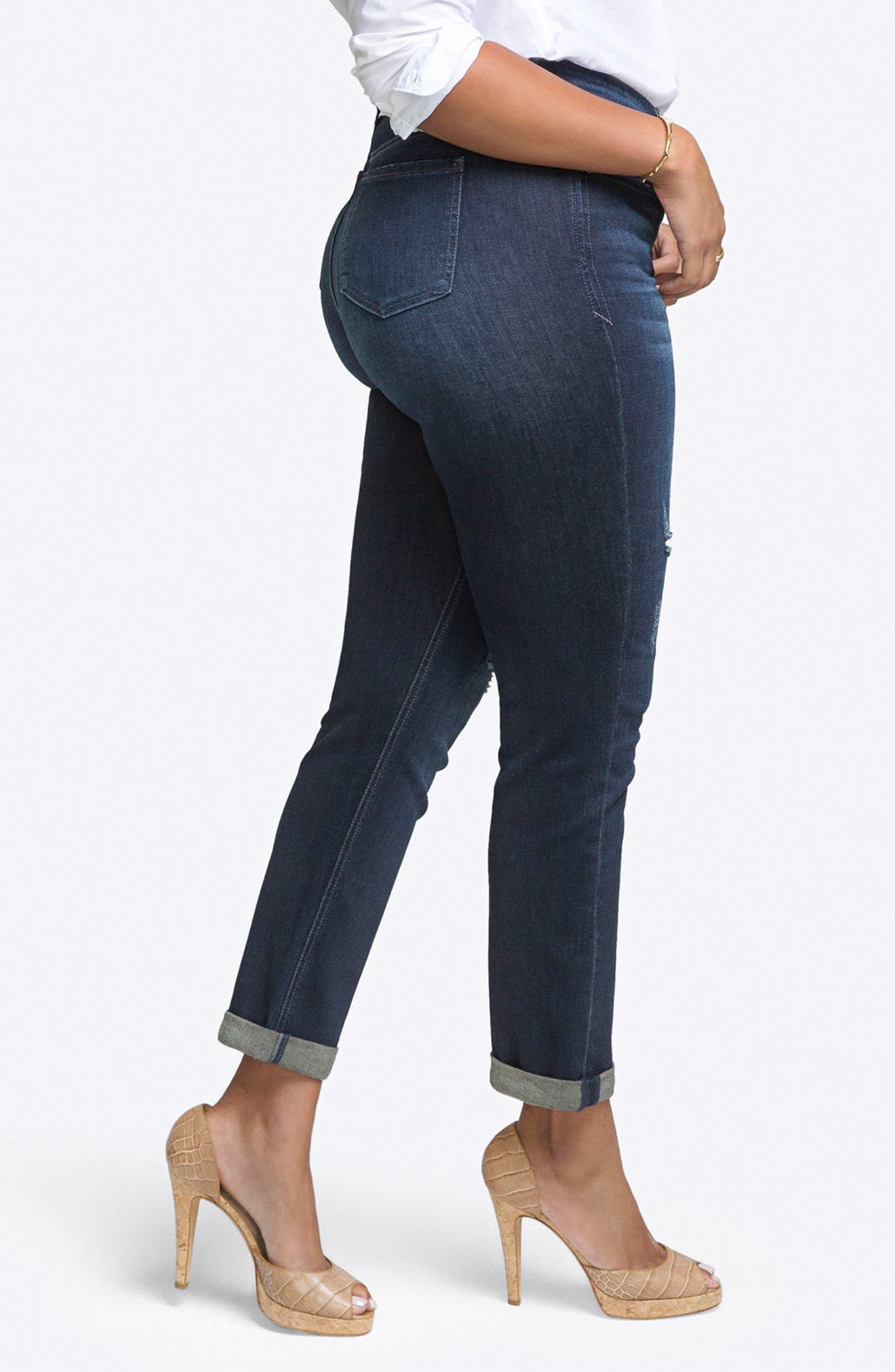 Rolled Slim Straight Leg Jeans,                             Alternate thumbnail 3, color,                             Tempest