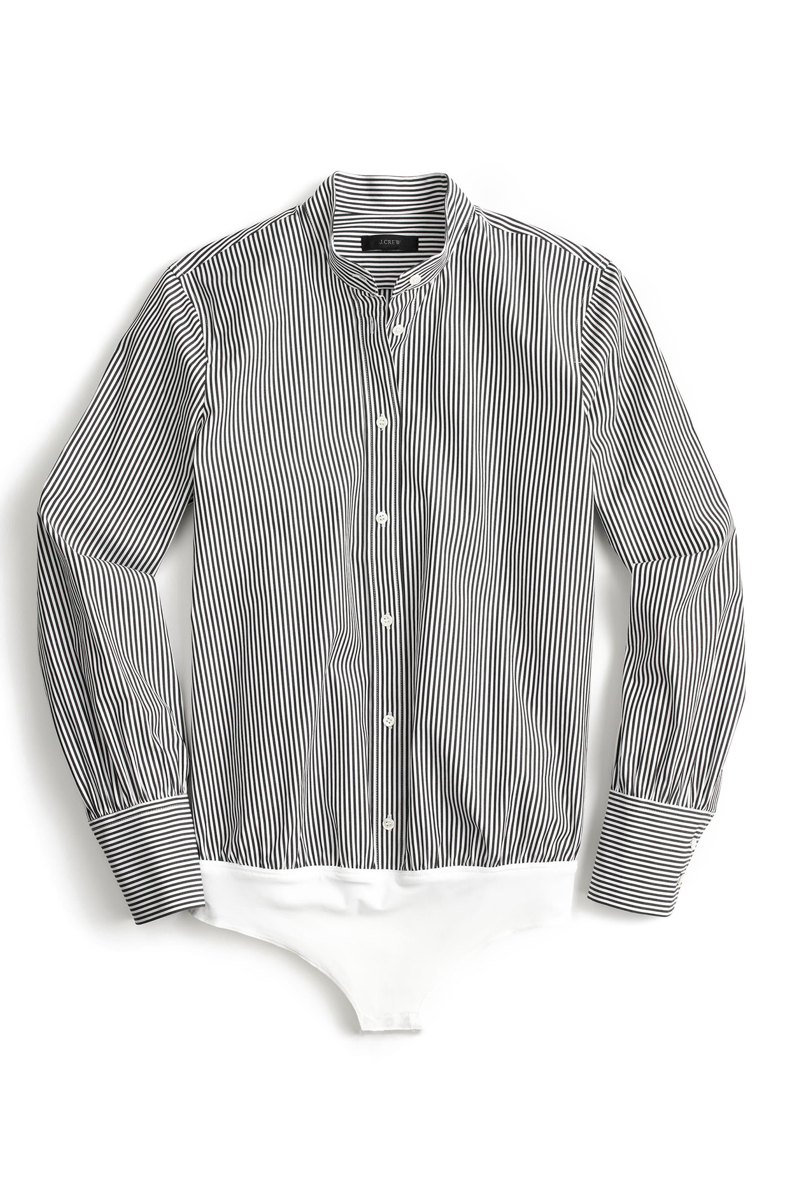 Perfect Stripe Stretch Bodysuit,                             Alternate thumbnail 2, color,                             Black