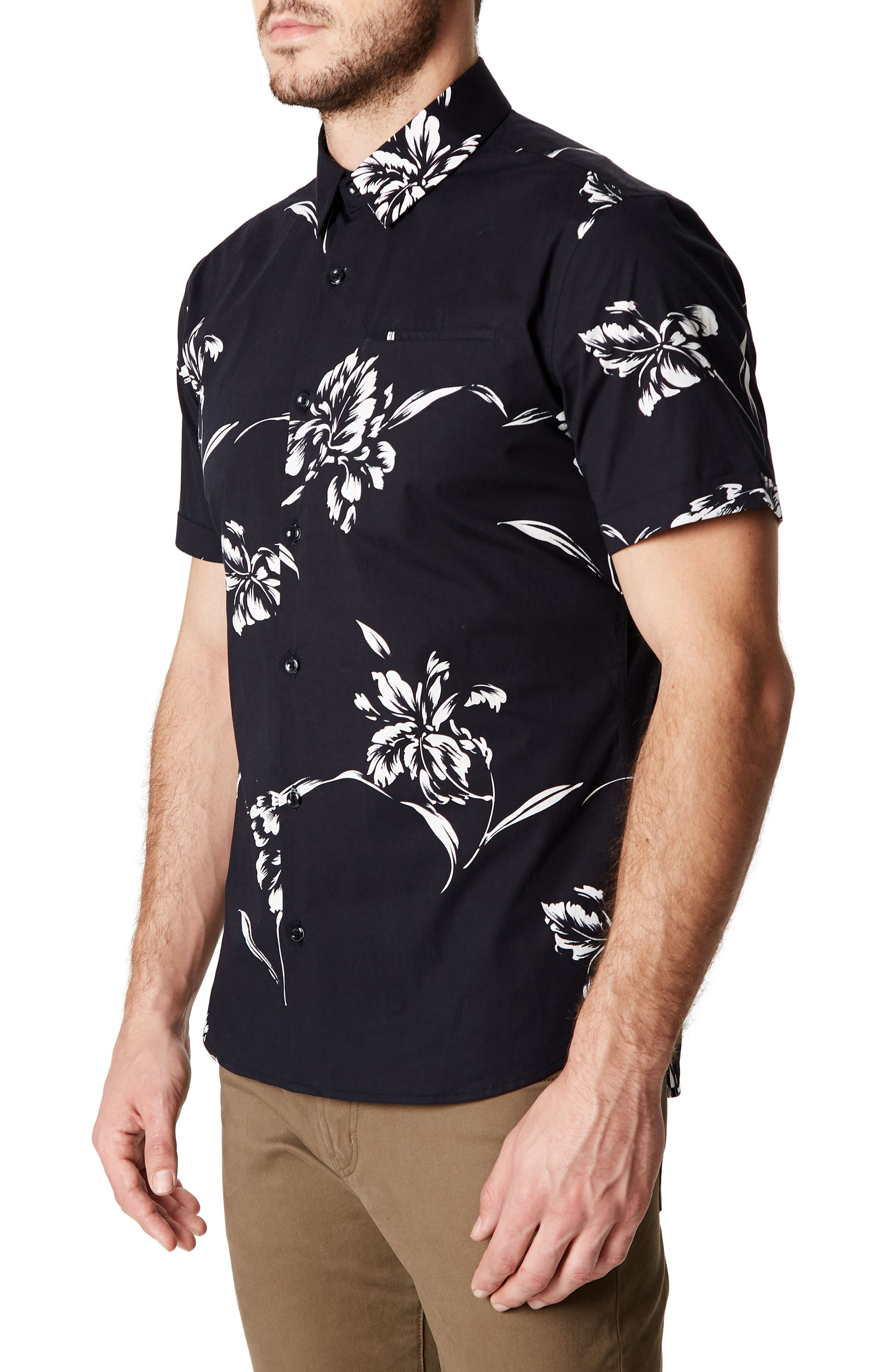 Harvest Moon Trim Fit Short Sleeve Sport Shirt,                             Alternate thumbnail 3, color,                             Black