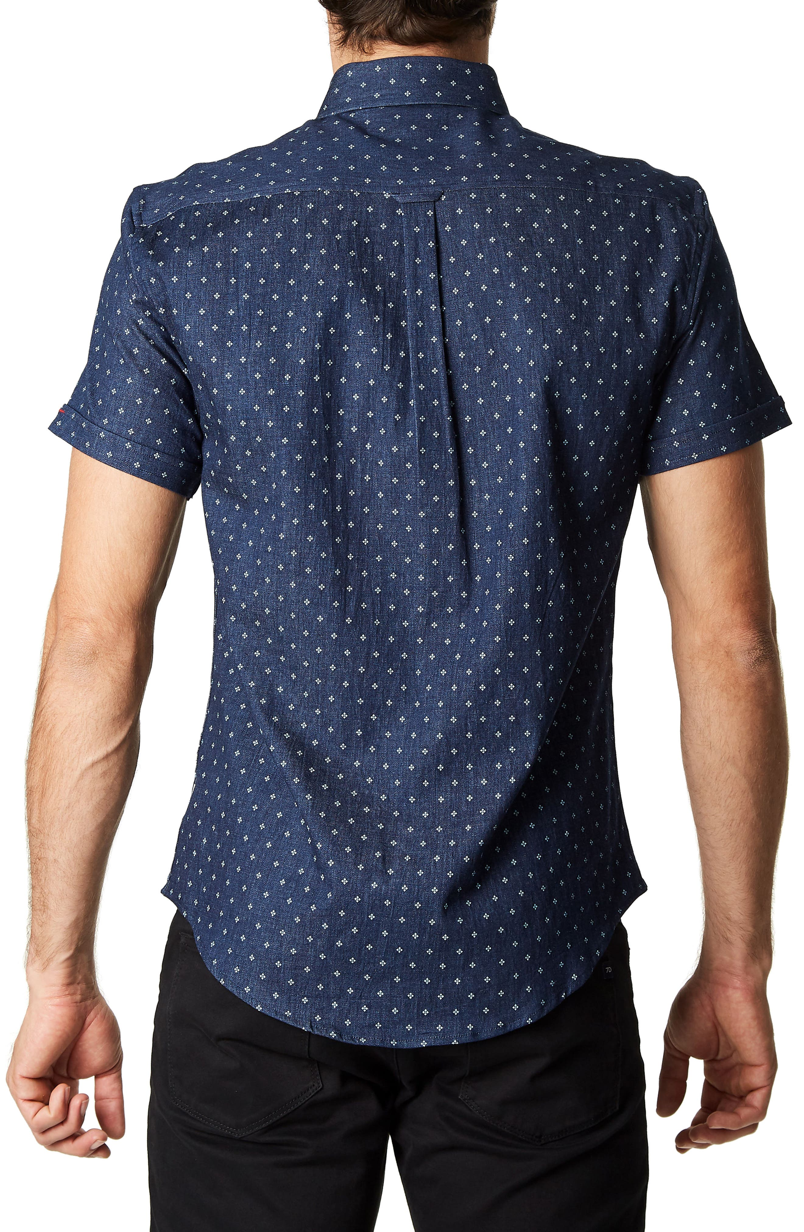 Best of Times Trim Fit Short Sleeve Sport Shirt,                             Alternate thumbnail 2, color,                             Navy