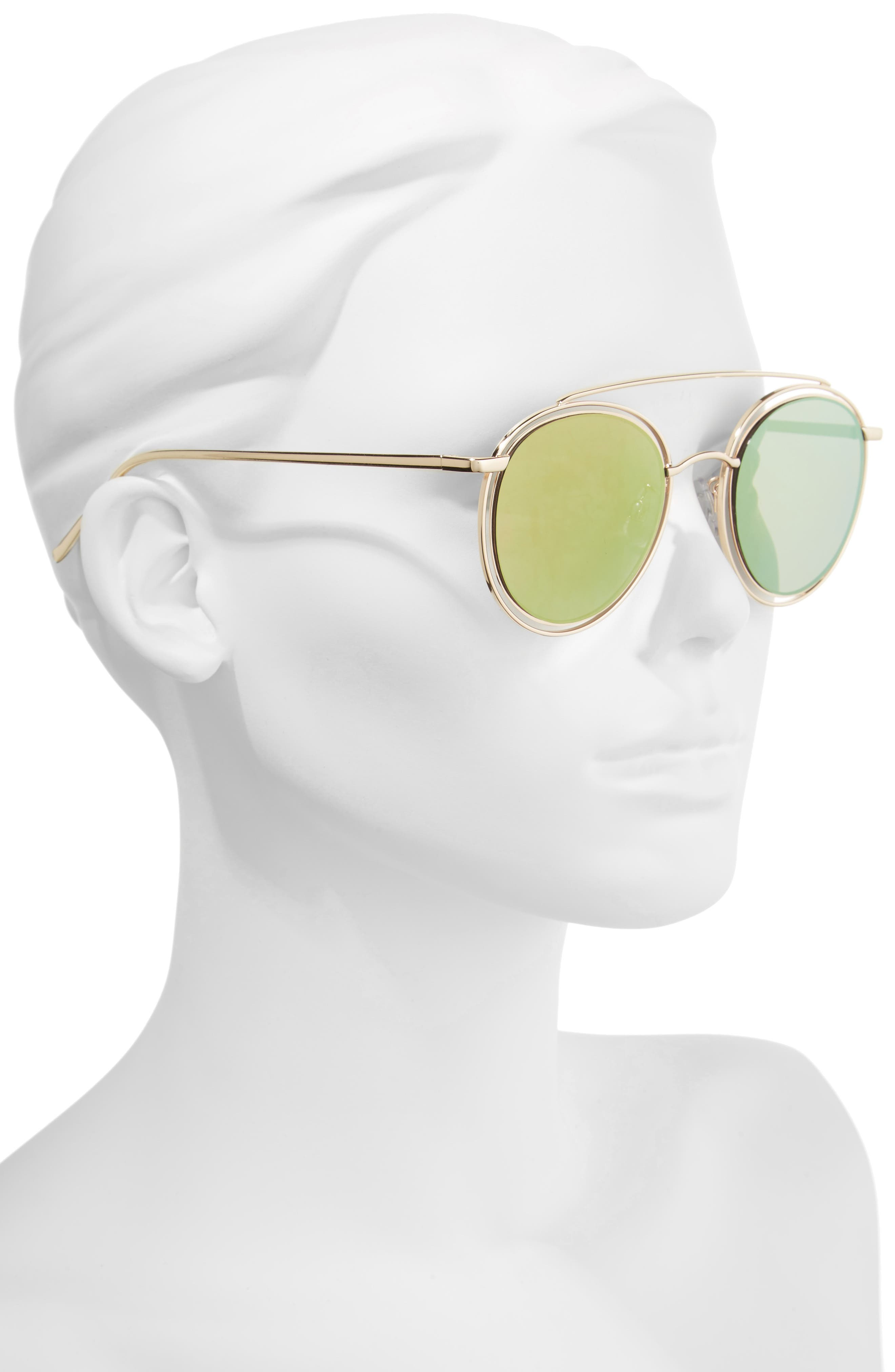 50mm Browbar Sunglasses,                             Alternate thumbnail 2, color,                             Gold/ Pink