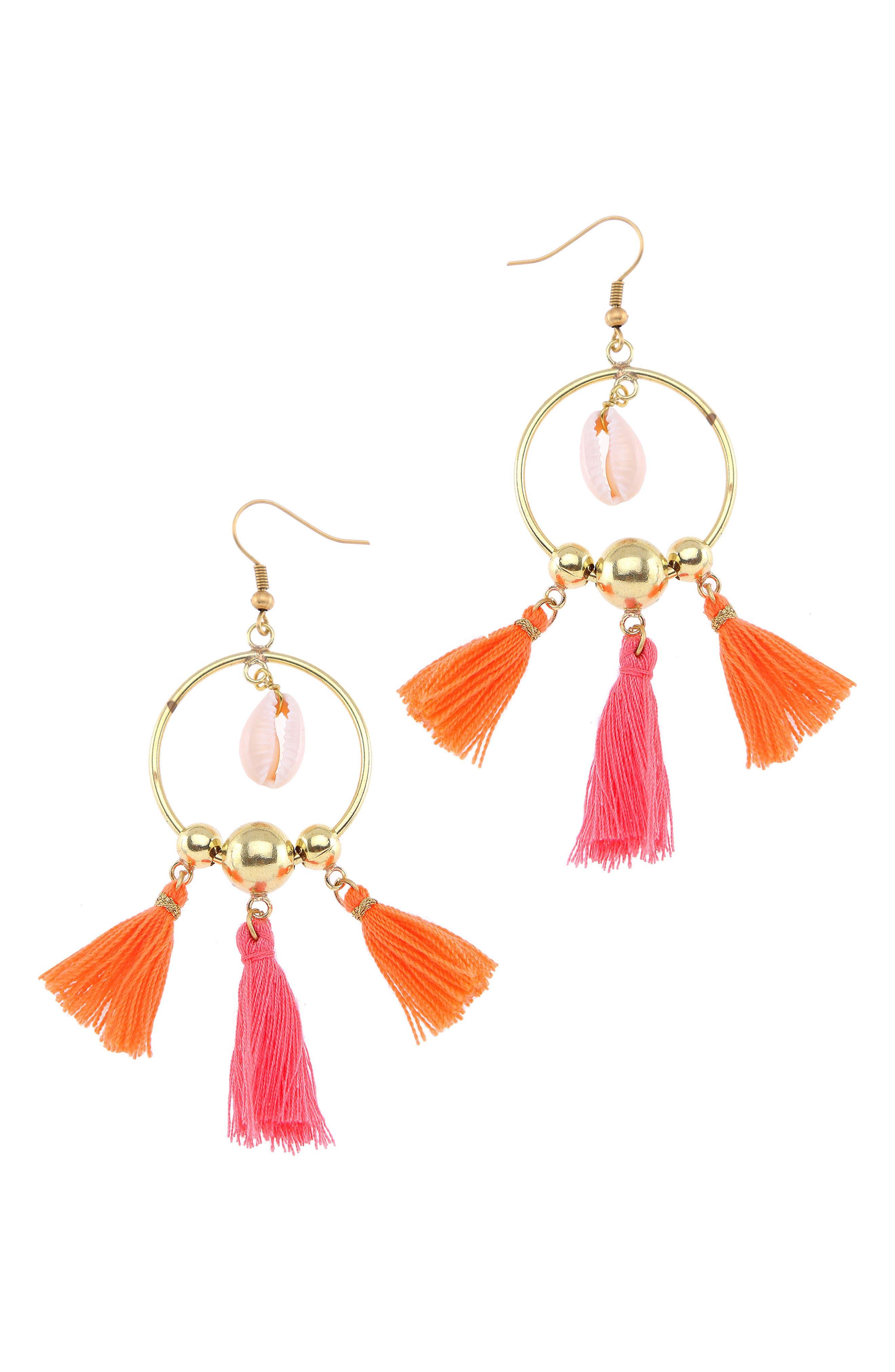 Tiny Tassel Hoop Earrings,                         Main,                         color, Orange