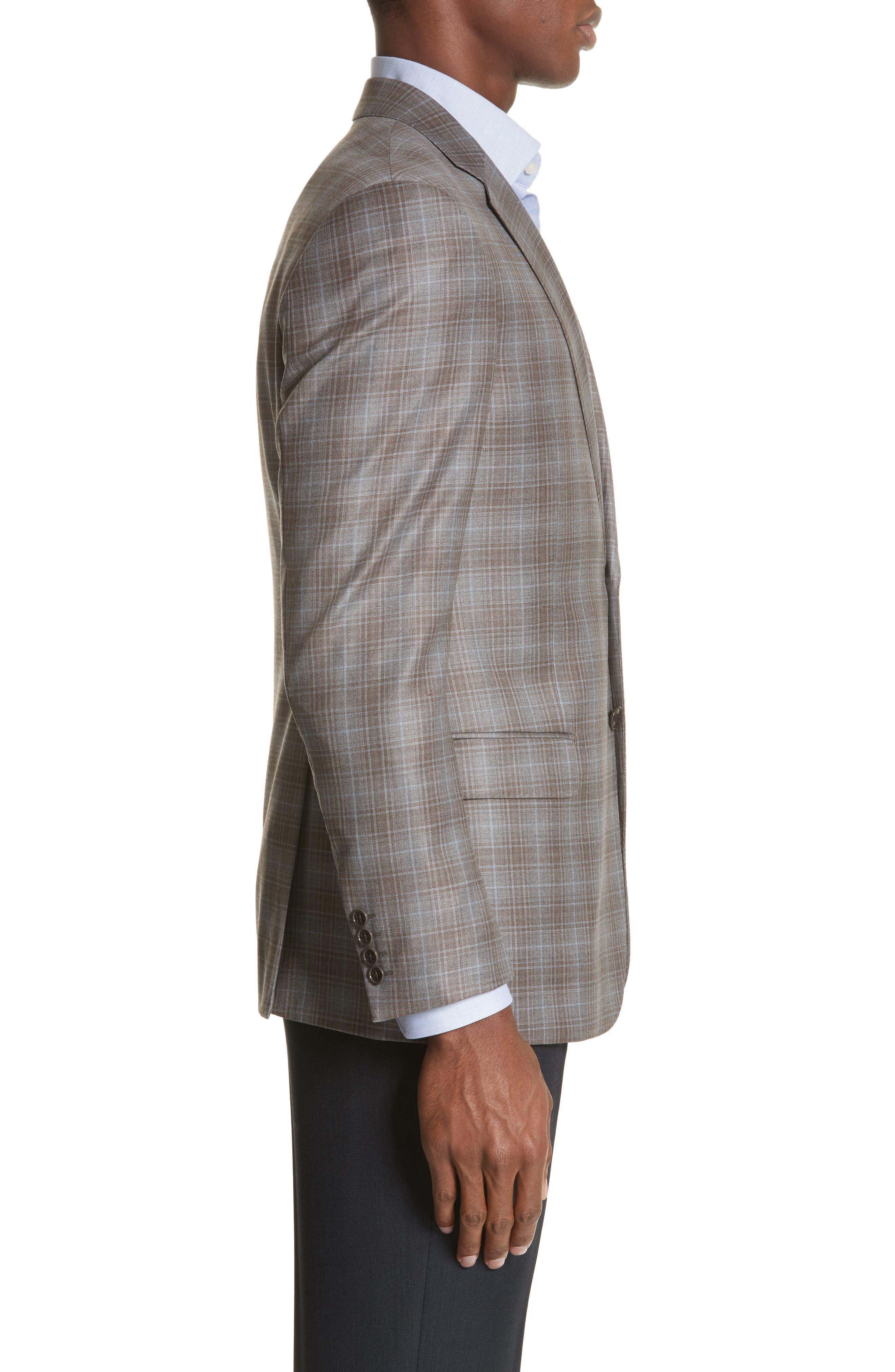 G-Line Trim Fit Plaid Wool Sport Coat,                             Alternate thumbnail 3, color,                             Tan