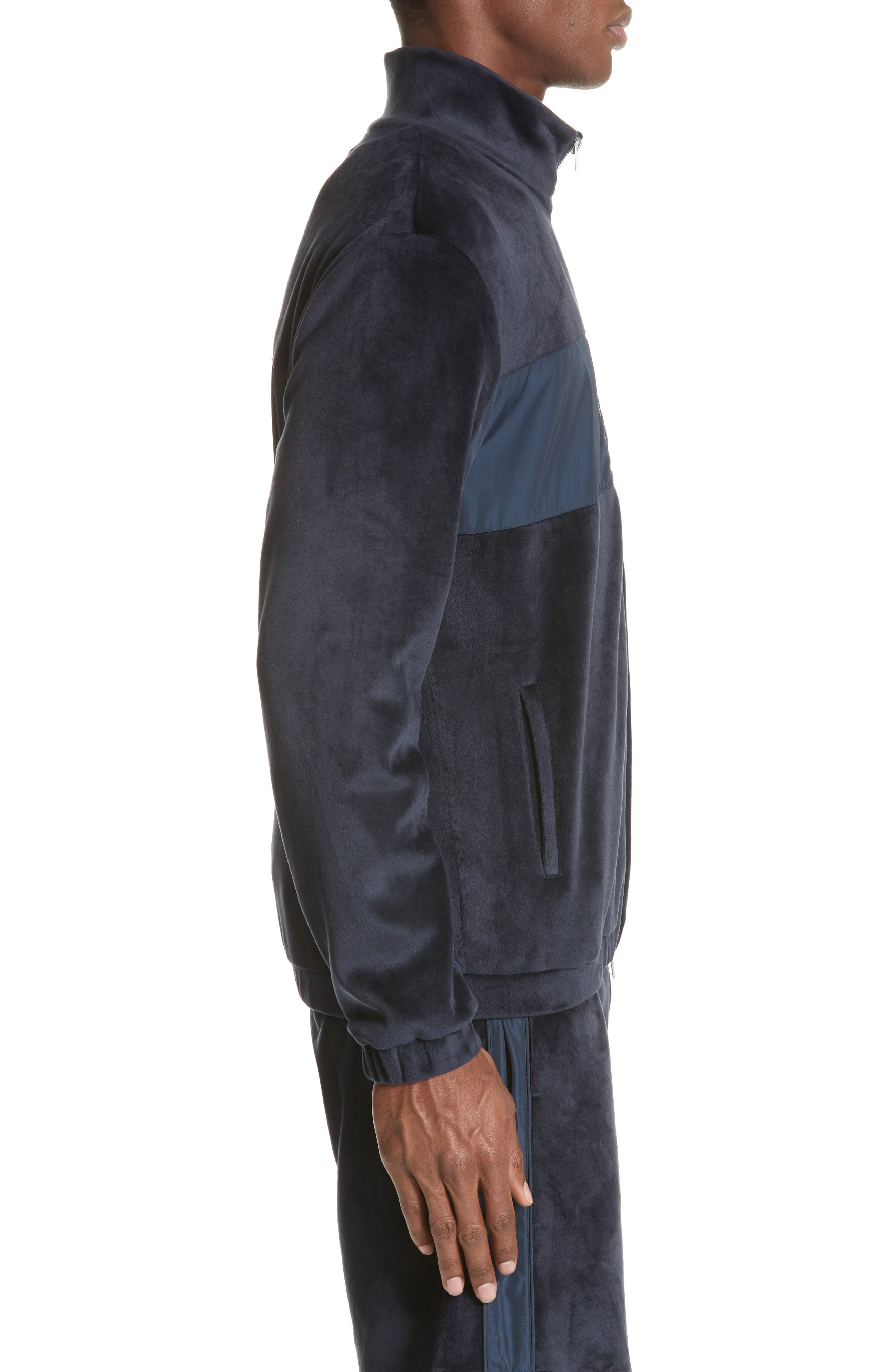 Headland Velour Track Jacket,                             Alternate thumbnail 3, color,                             Slate