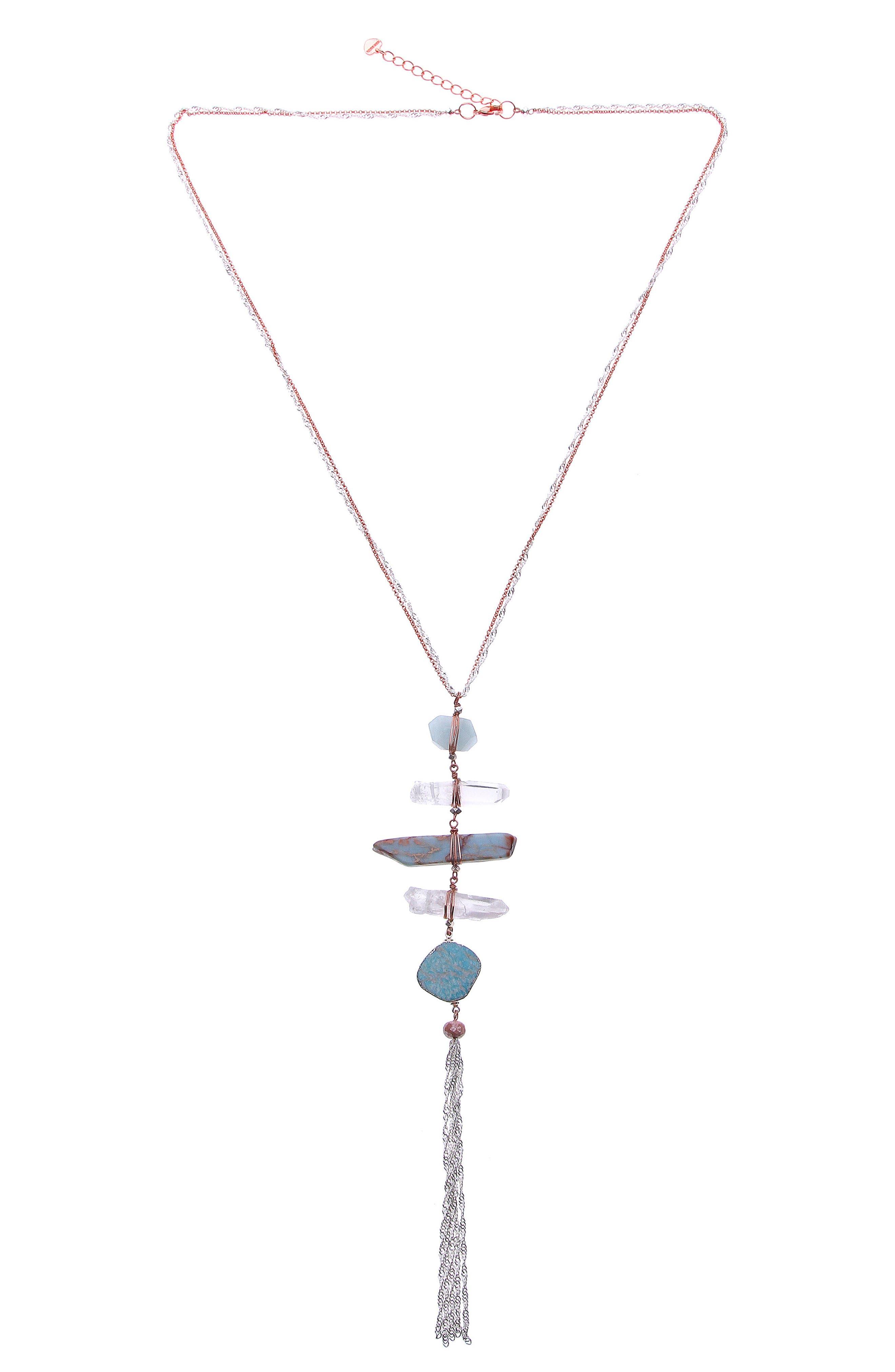 Raw Amazonite & Crystal Y-Necklace,                         Main,                         color, Aqua