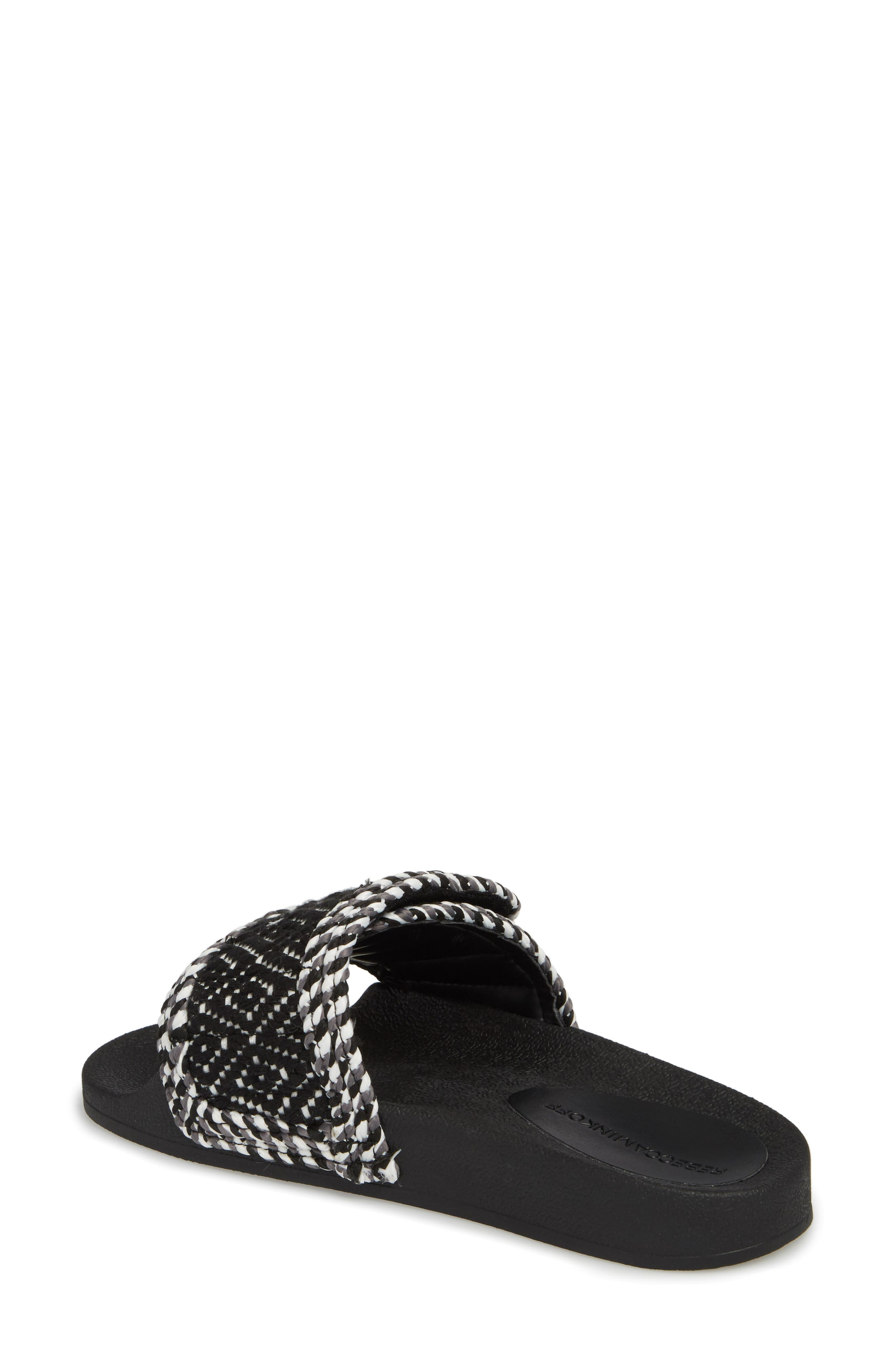 Tressa Woven Slide Sandal,                             Alternate thumbnail 2, color,                             Black/ White Woven Fabric