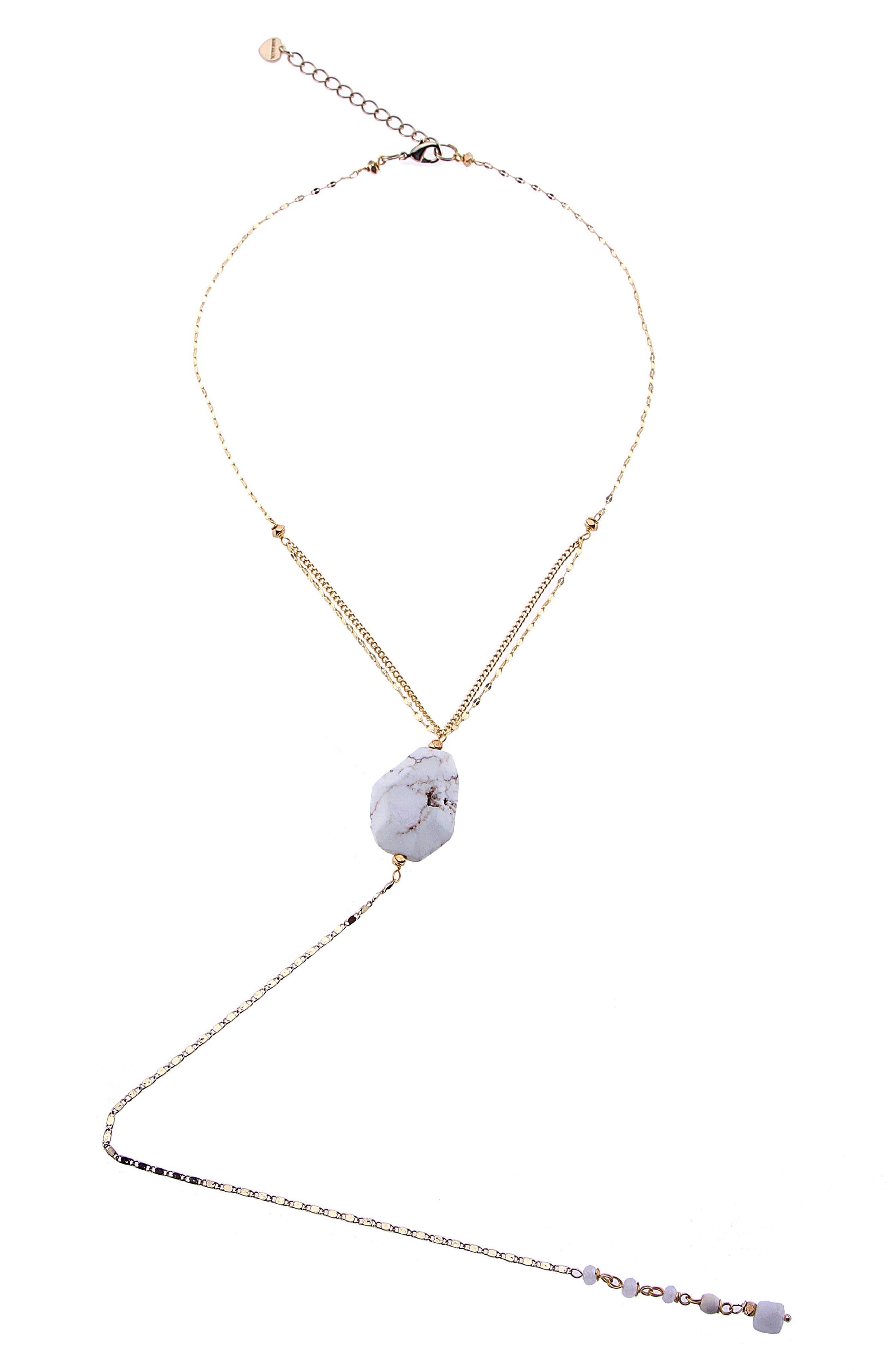 Howlite Y-Necklace,                         Main,                         color, White