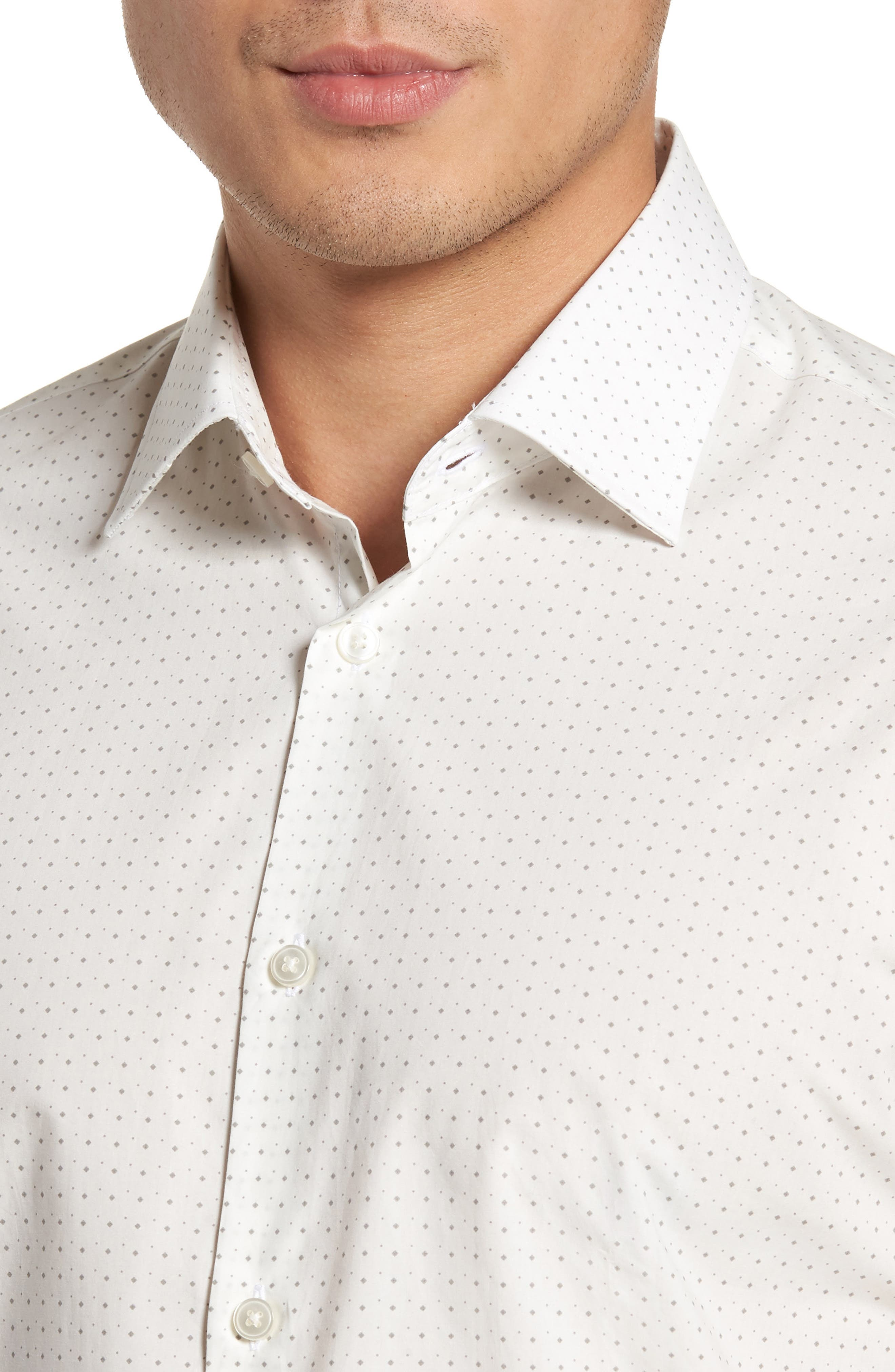 Regular Fit Diamond Dress Shirt,                             Alternate thumbnail 2, color,                             Griffin Grey