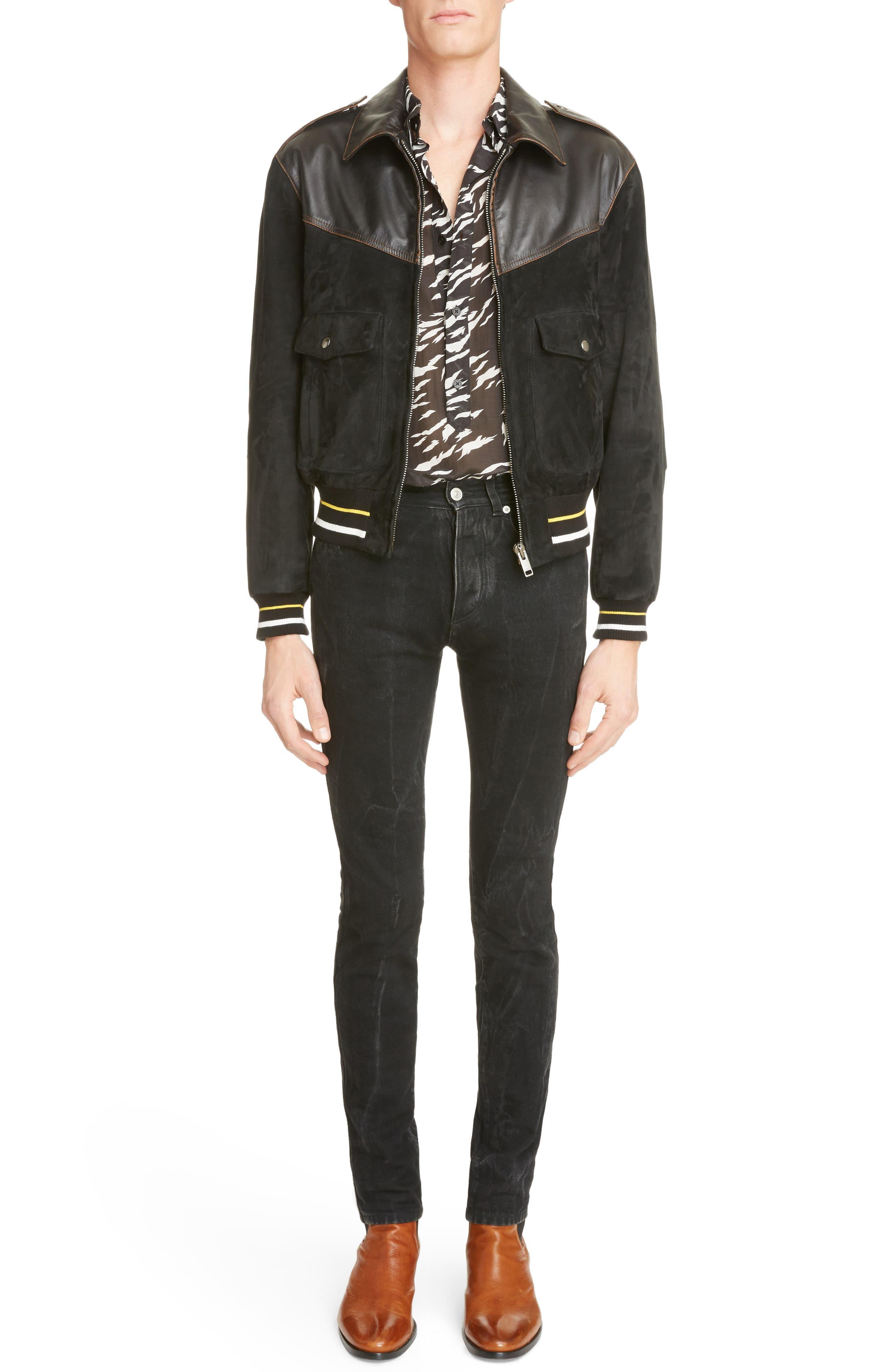 Suede & Leather Bomber Jacket,                             Alternate thumbnail 6, color,                             Black