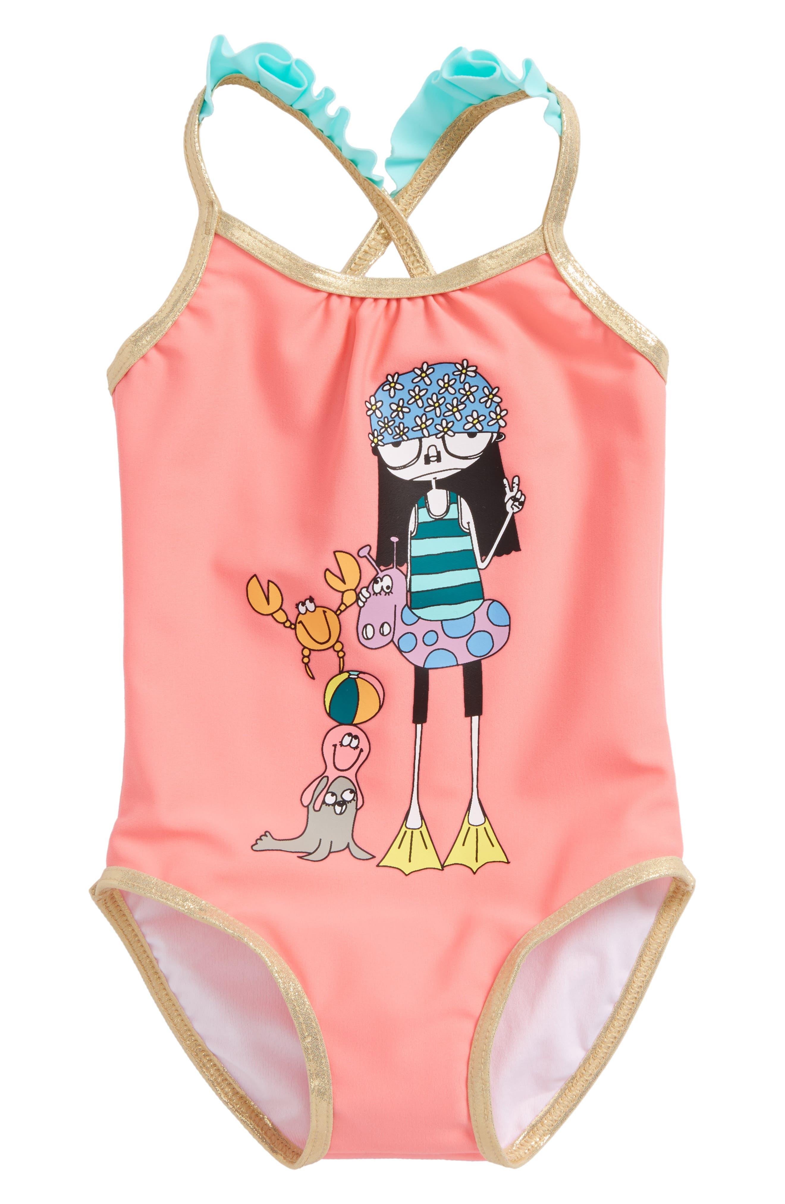 Miss Marc One-Piece Swimsuit,                         Main,                         color, Pomegranate