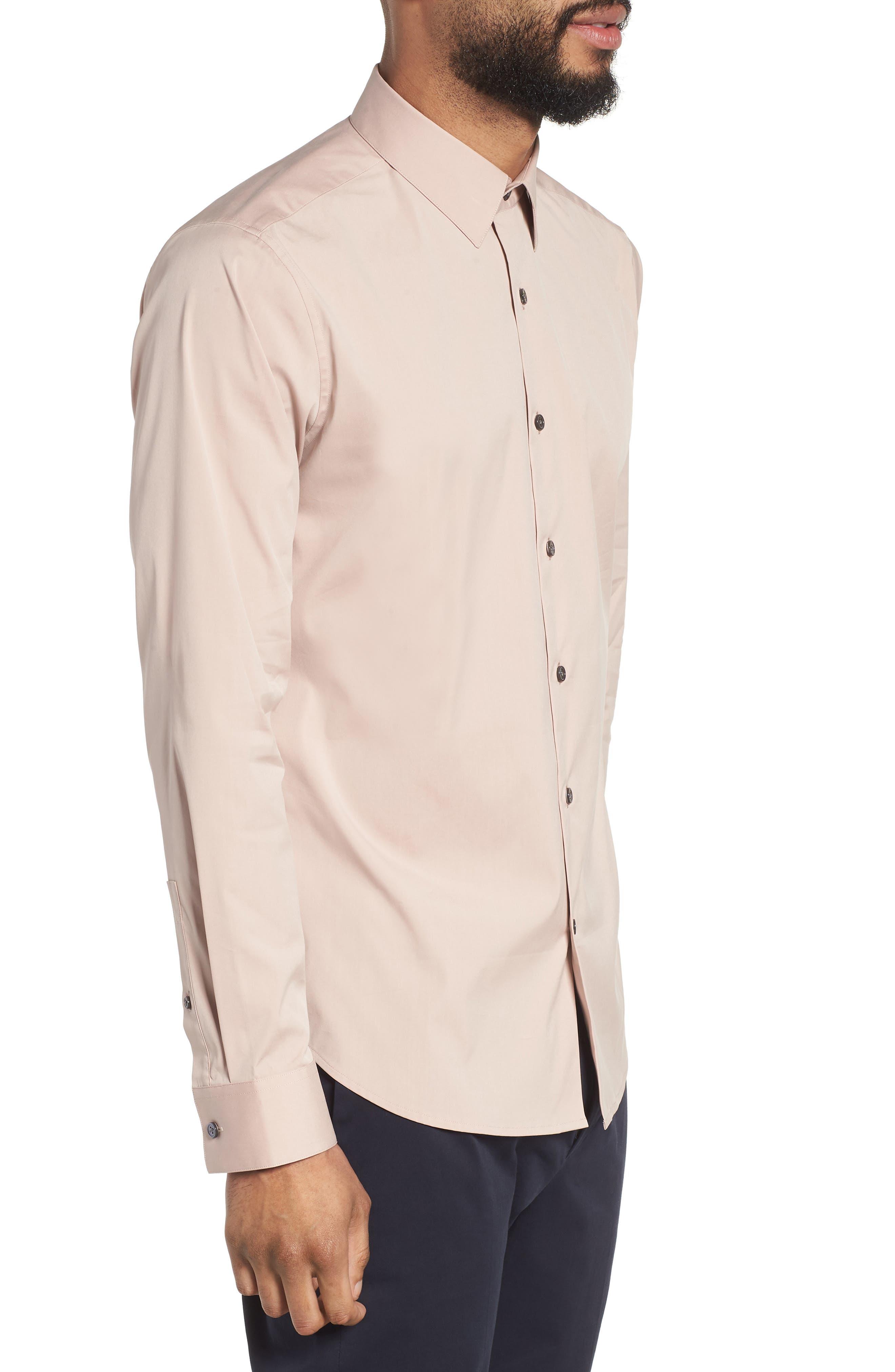 'Sylvain' Trim Fit Long Sleeve Sport Shirt,                             Alternate thumbnail 3, color,                             Lotus