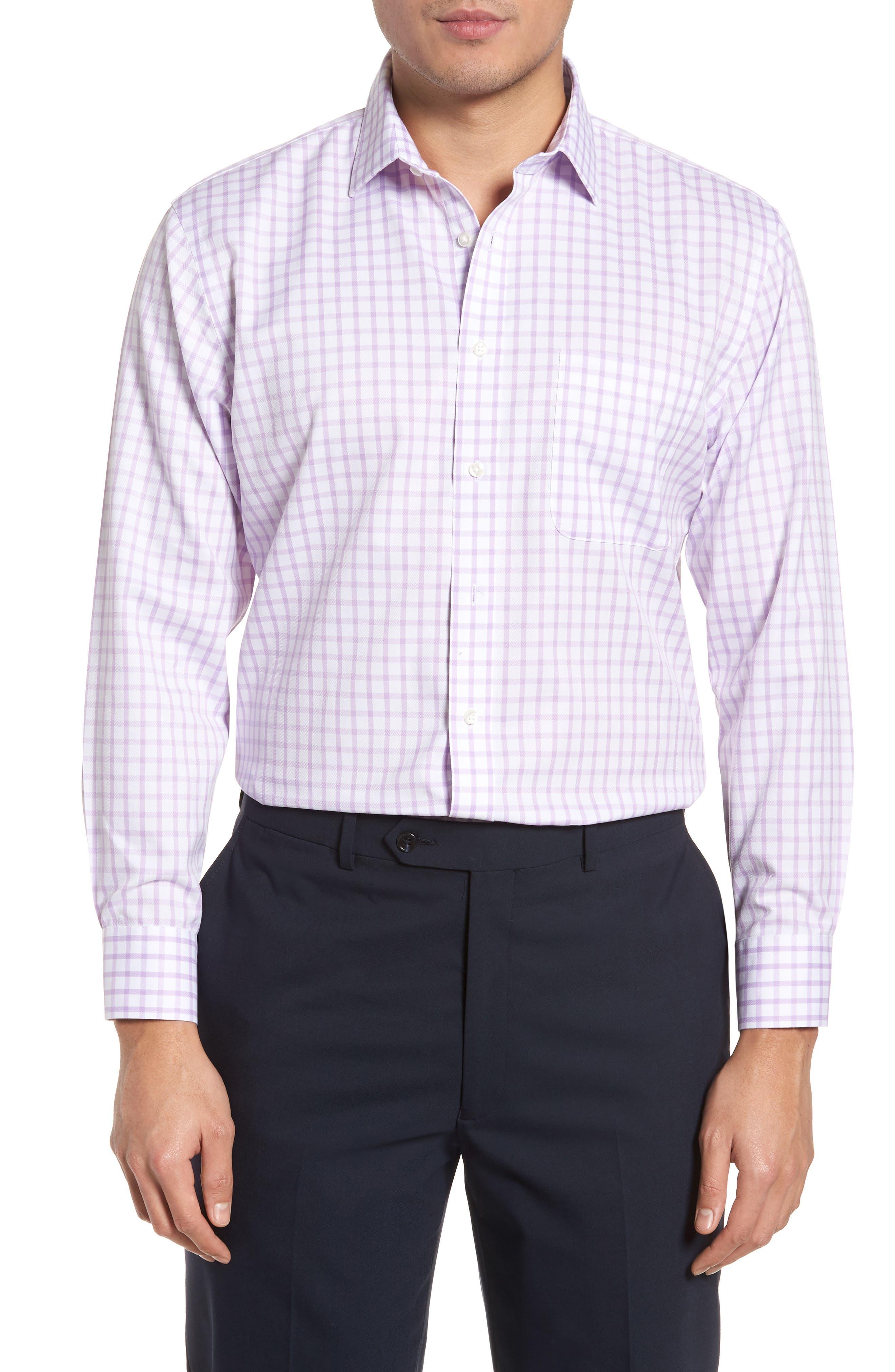 Smartcare<sup>™</sup> Trim Fit Check Dress Shirt,                         Main,                         color, Purple Regal
