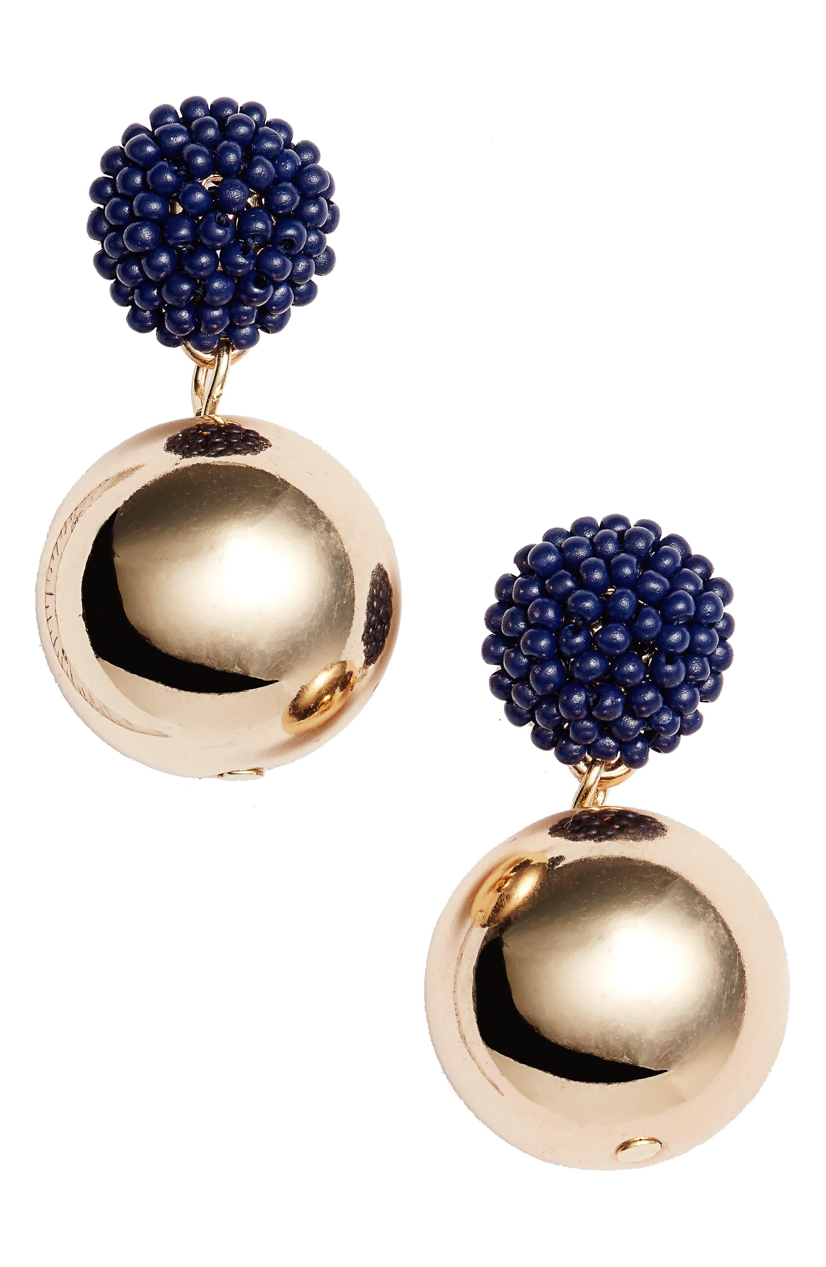 Halogen® Beaded Double Sphere Drop Earrings