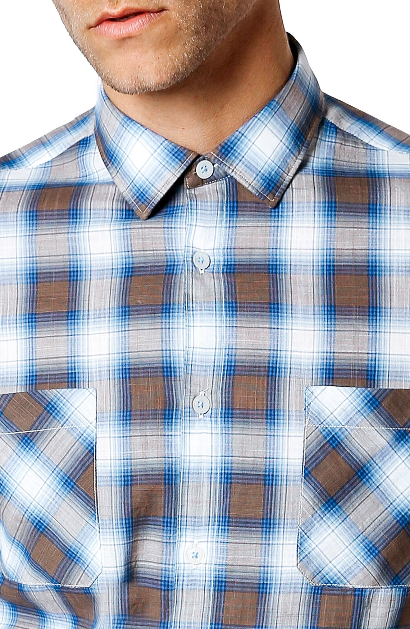 Trim Fit Plaid Sport Shirt,                             Alternate thumbnail 4, color,                             Desert