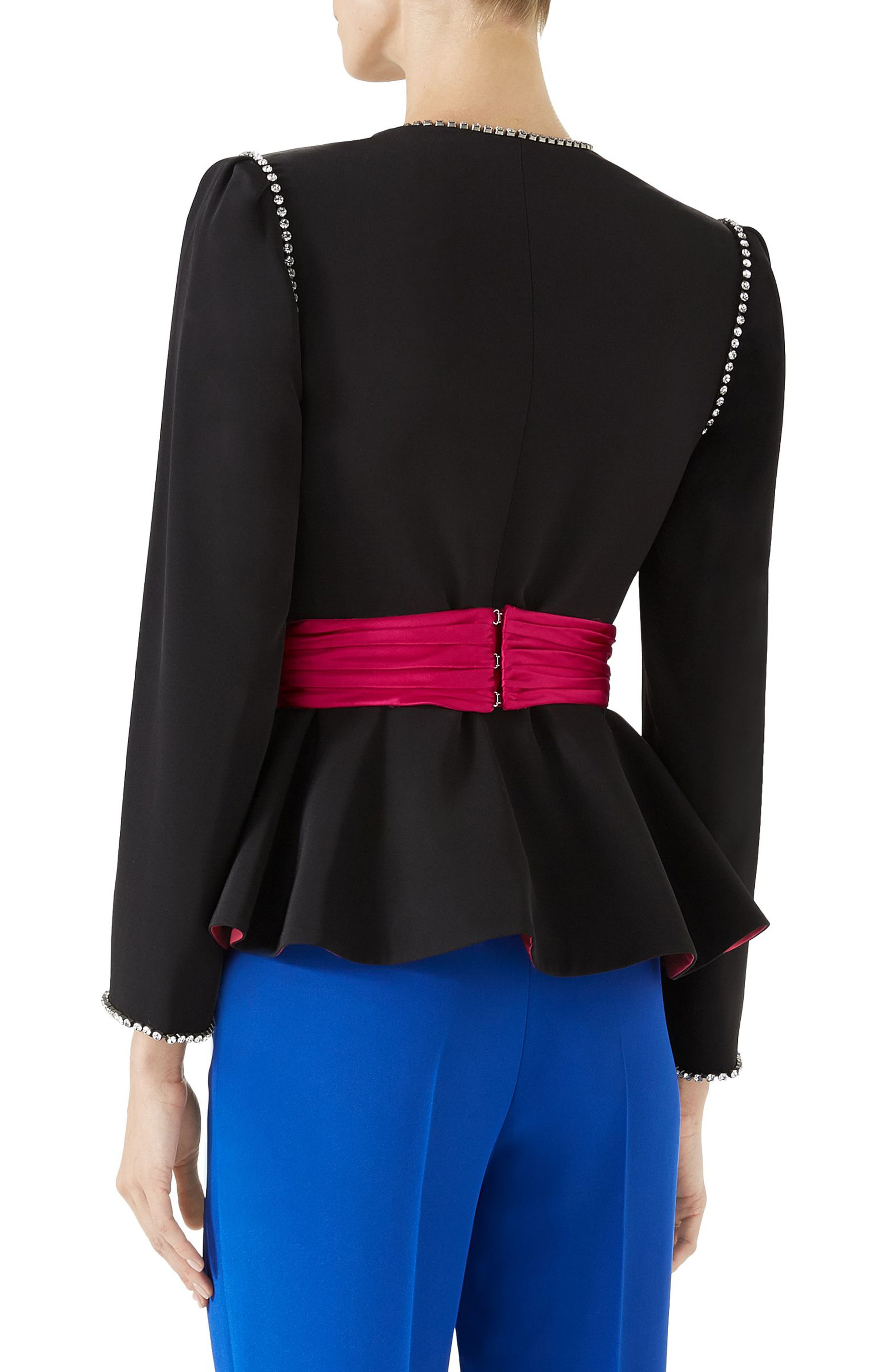 Bow Detail Marocain Jacket,                             Alternate thumbnail 2, color,                             Black/ Raspberry Juice