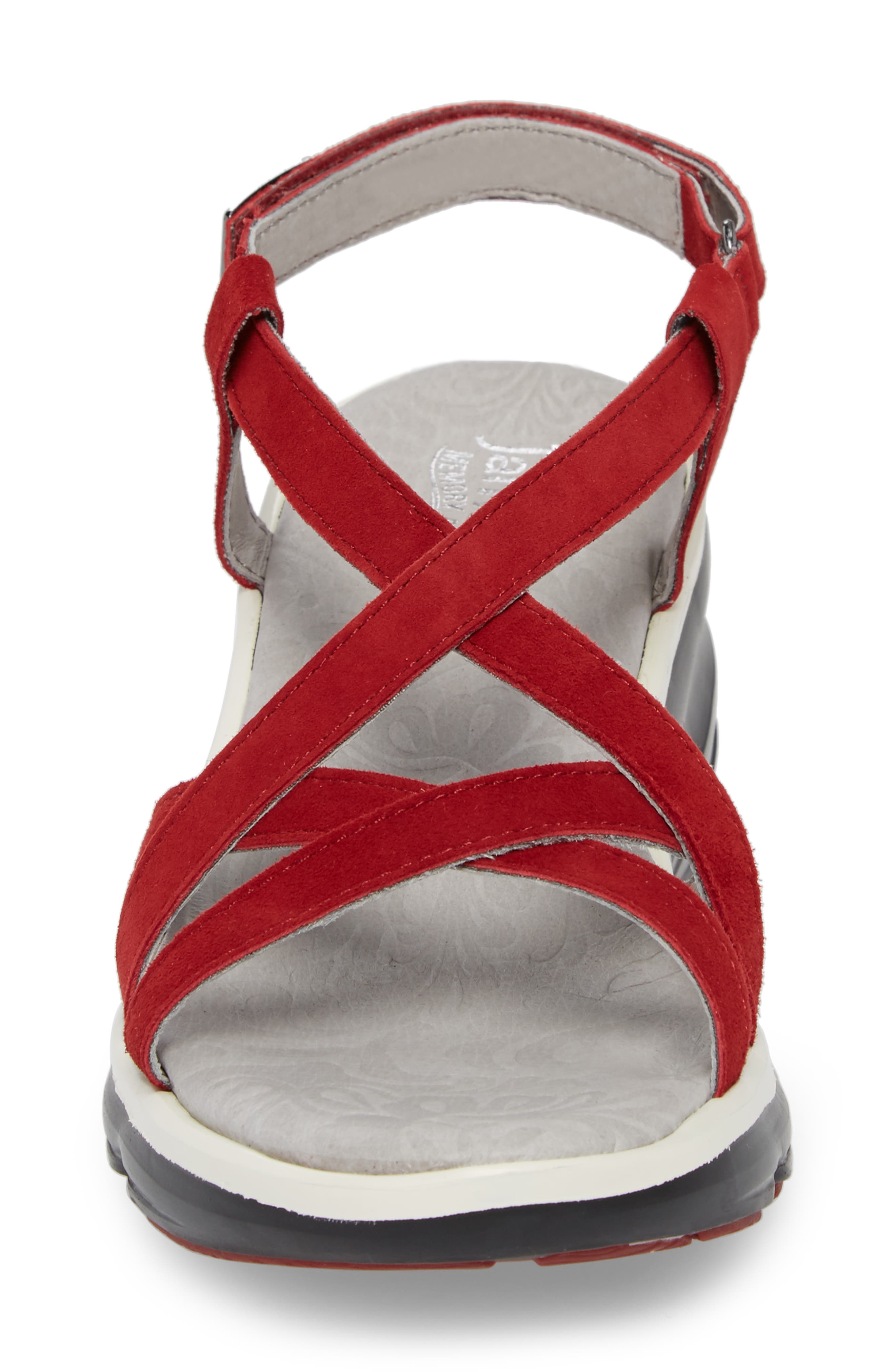 Ginger Wedge Sandal,                             Alternate thumbnail 4, color,                             Red Suede