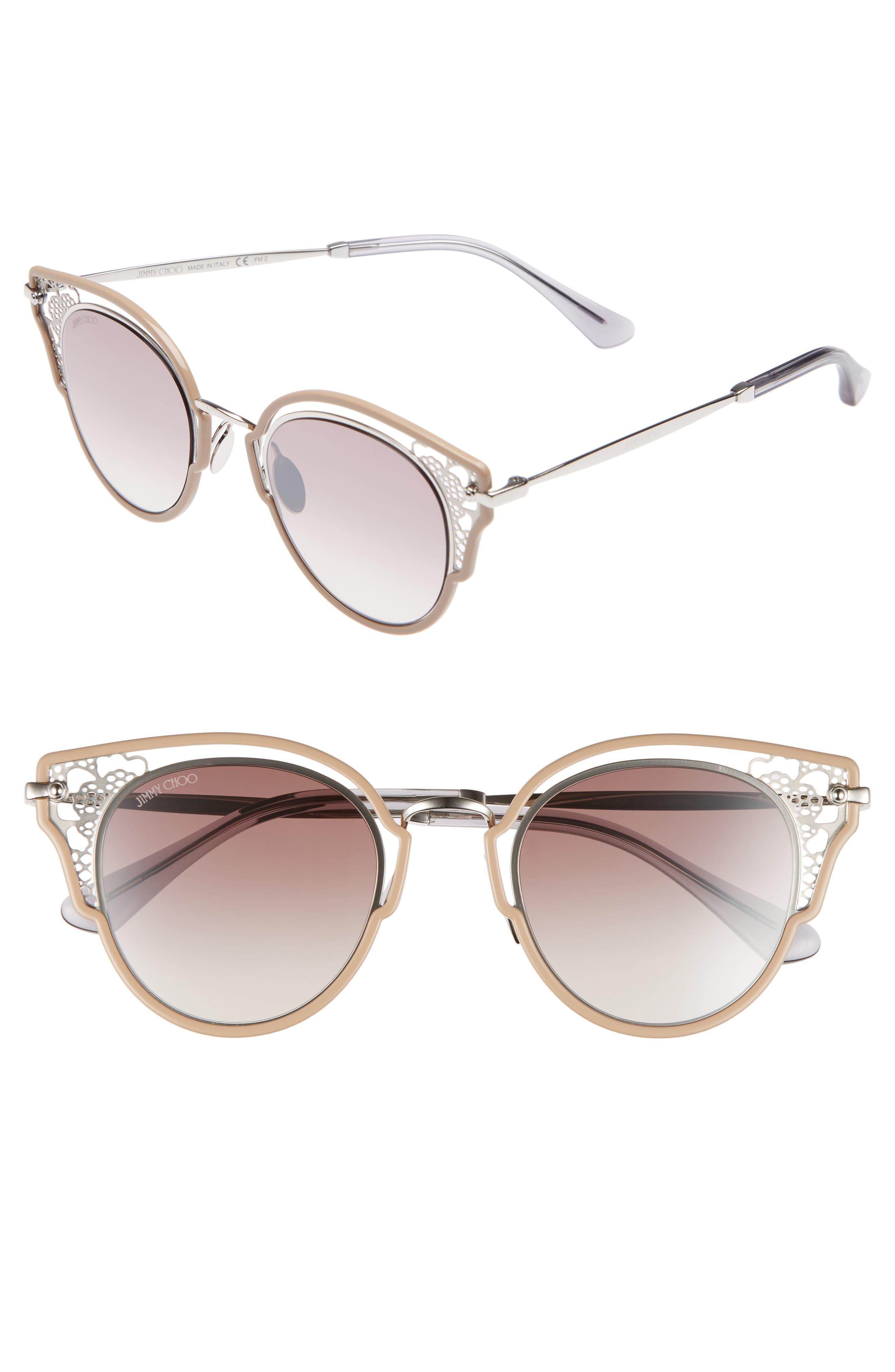 Dhelias 48mm Cat Eye Sunglasses,                             Main thumbnail 1, color,                             Nude Palladium