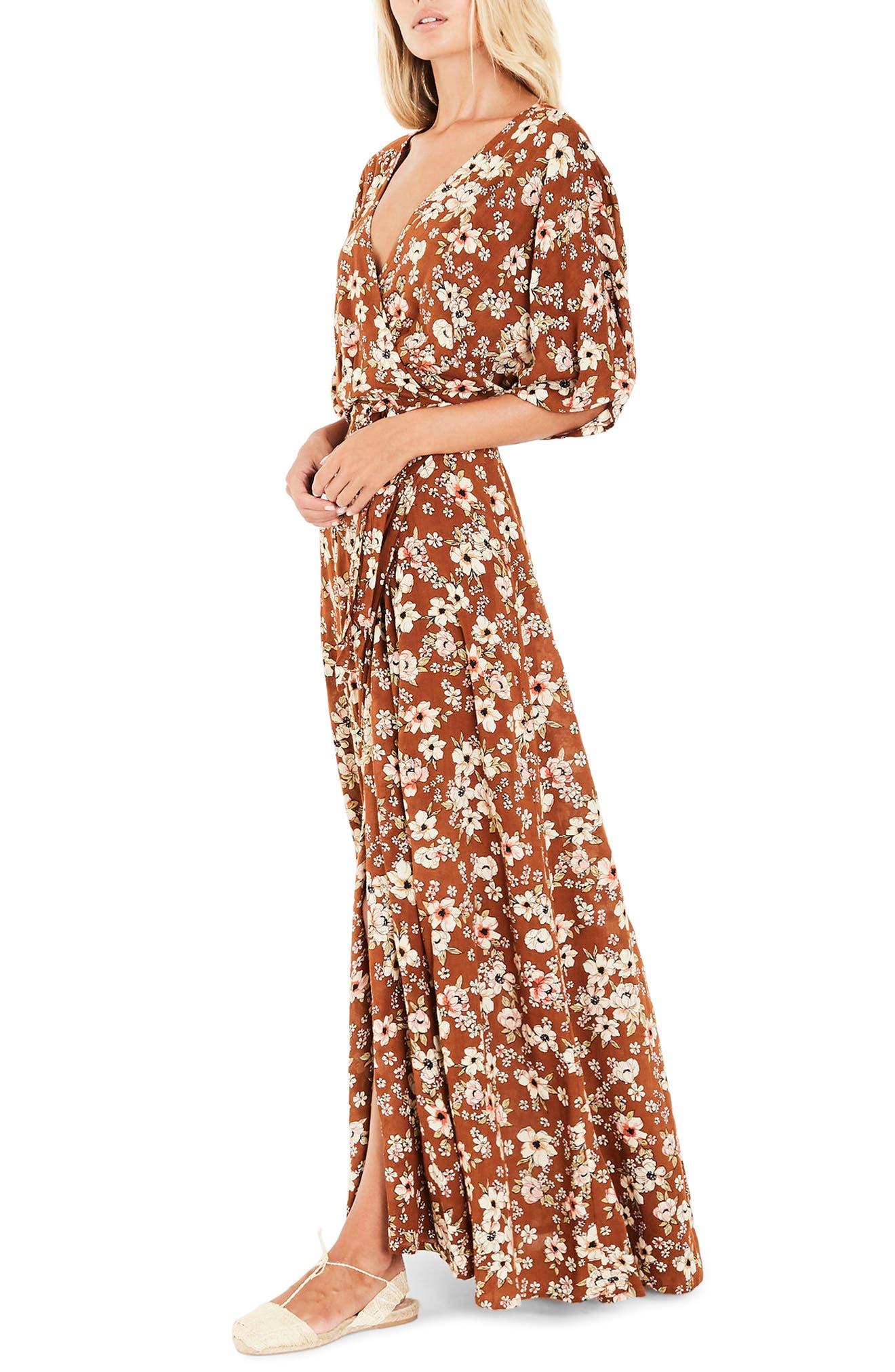 Bergamo Maxi Wrap Dress,                             Alternate thumbnail 3, color,                             Cecile Rose